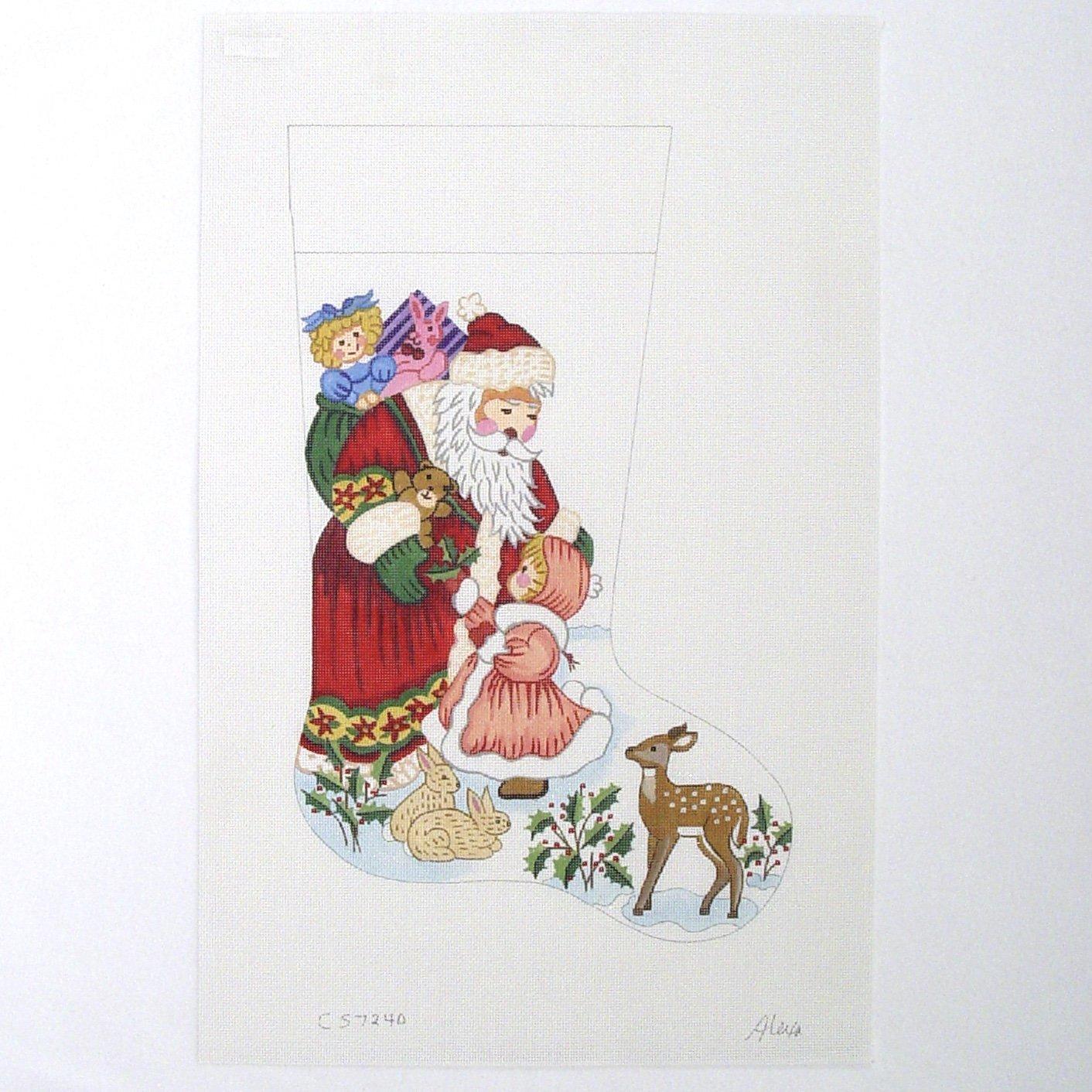 C CS7240 Santa & Little Girl Stocking