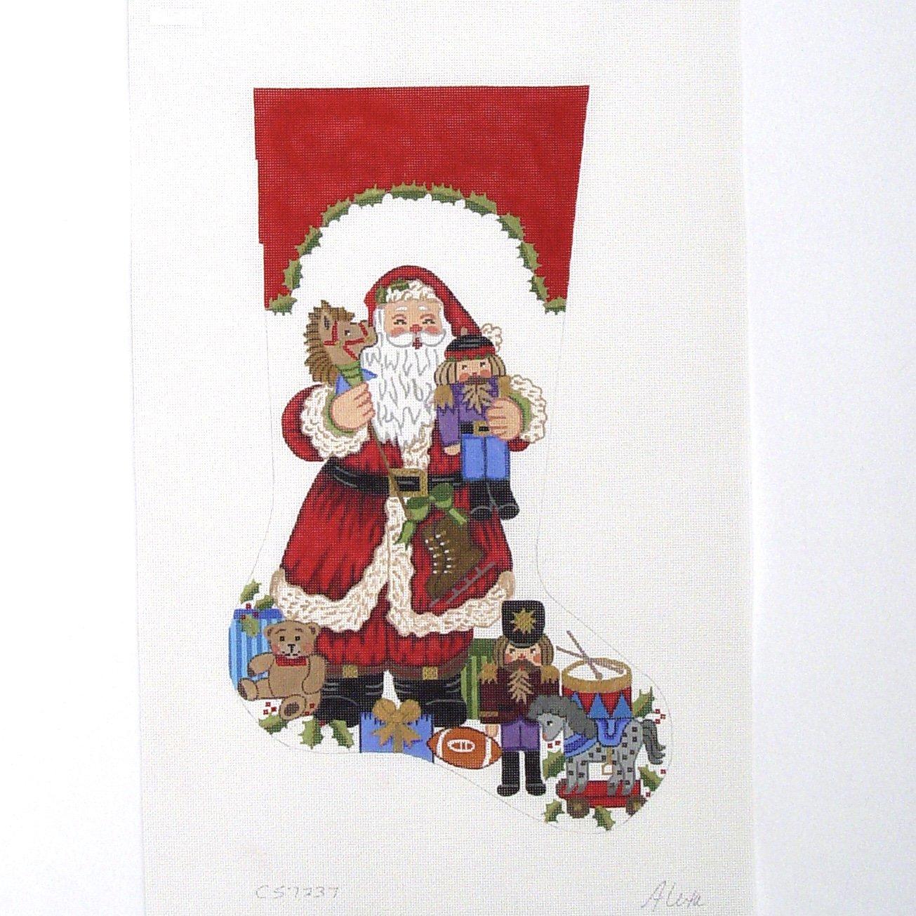 C CS7237 Santa Holding Hobby Horse and Nutcrackers Stocking