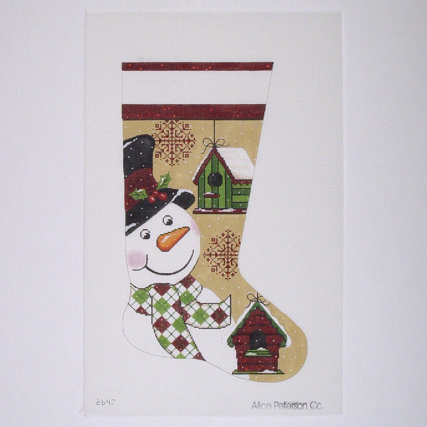 2647 Snowman & Birdhouse Stocking