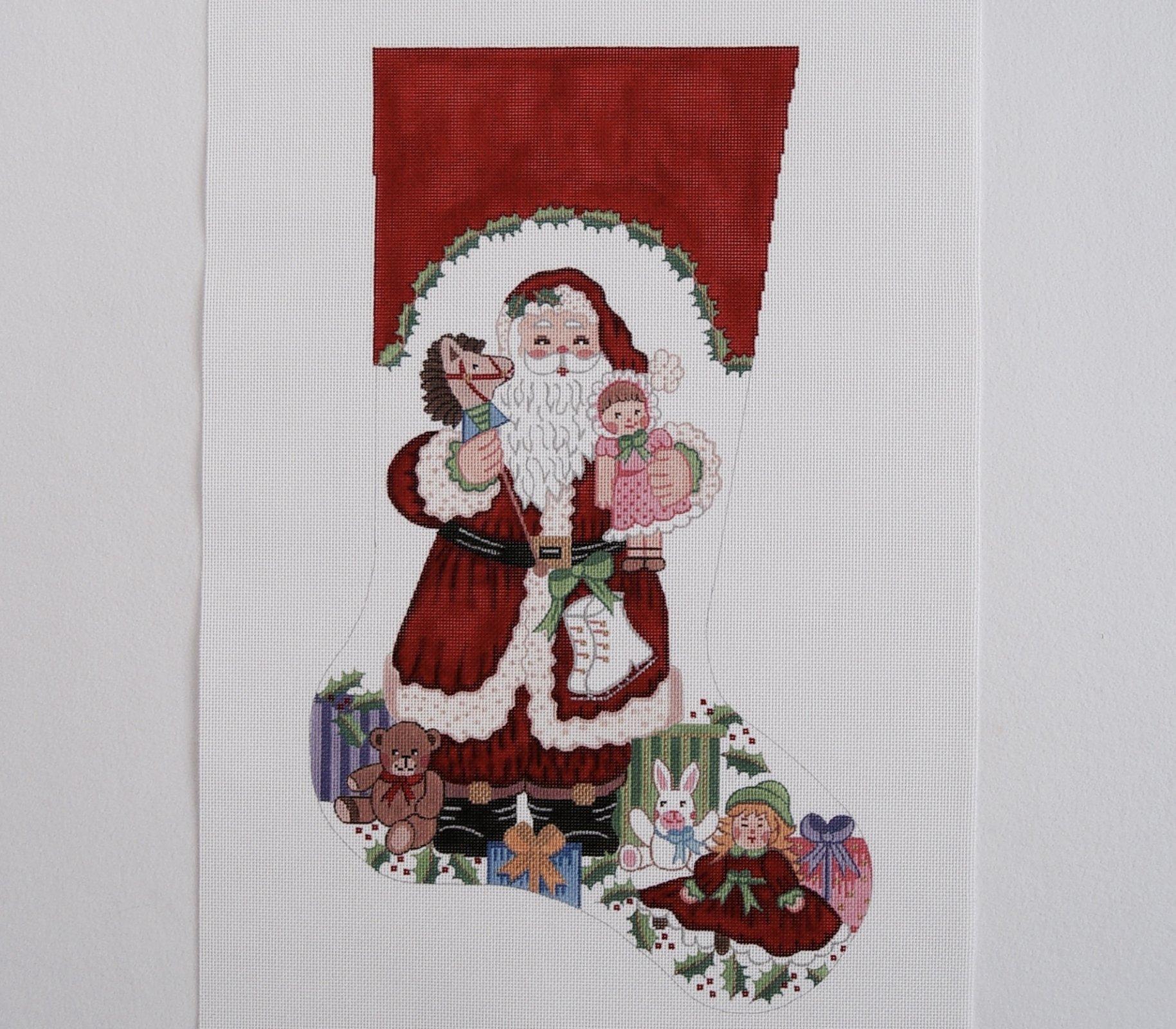 C CS7236 Santa Holding Hobby Horse and Dolls Stocking