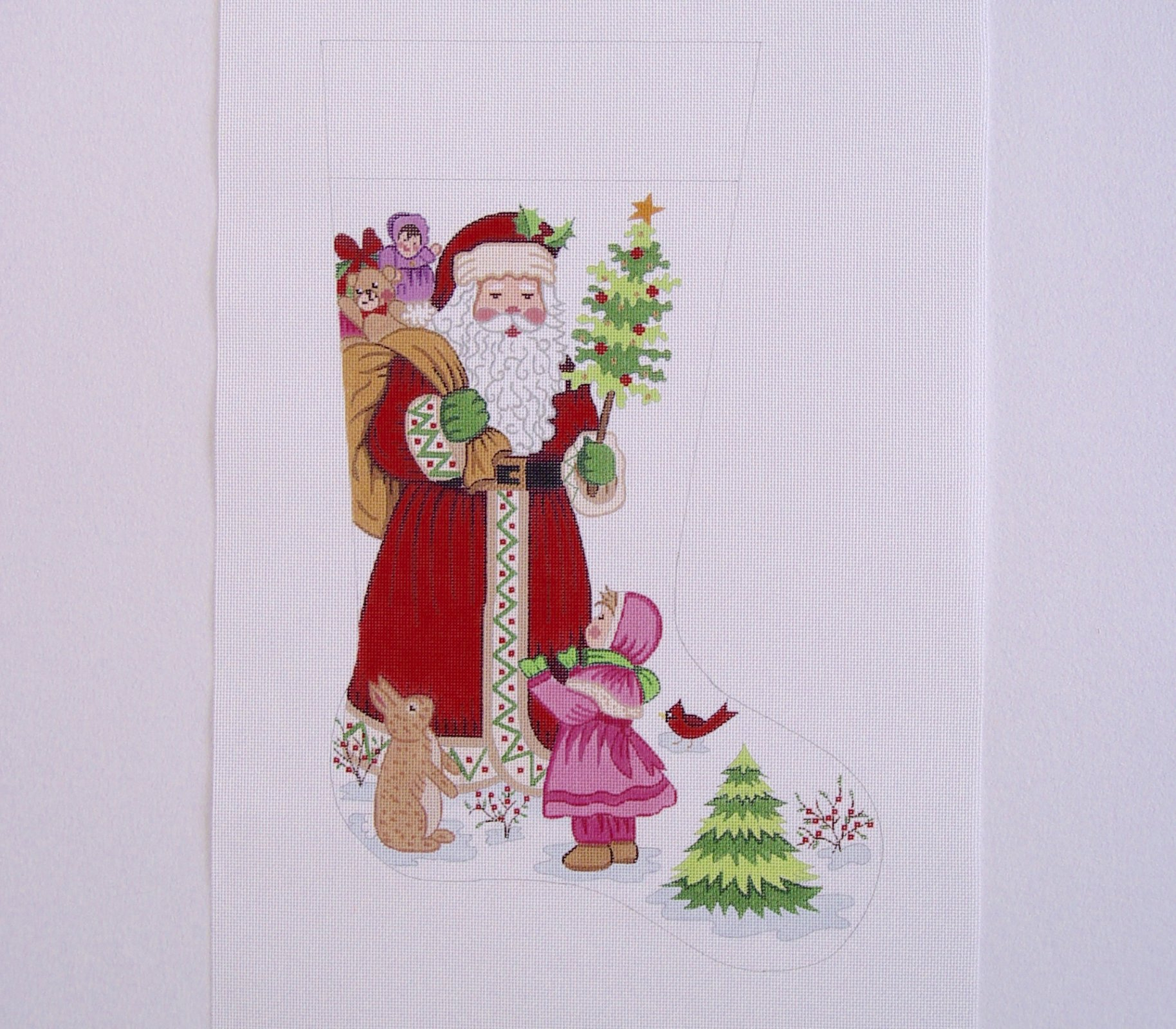 C CS7218 Santa Holding Tree with Little Girl Stocking