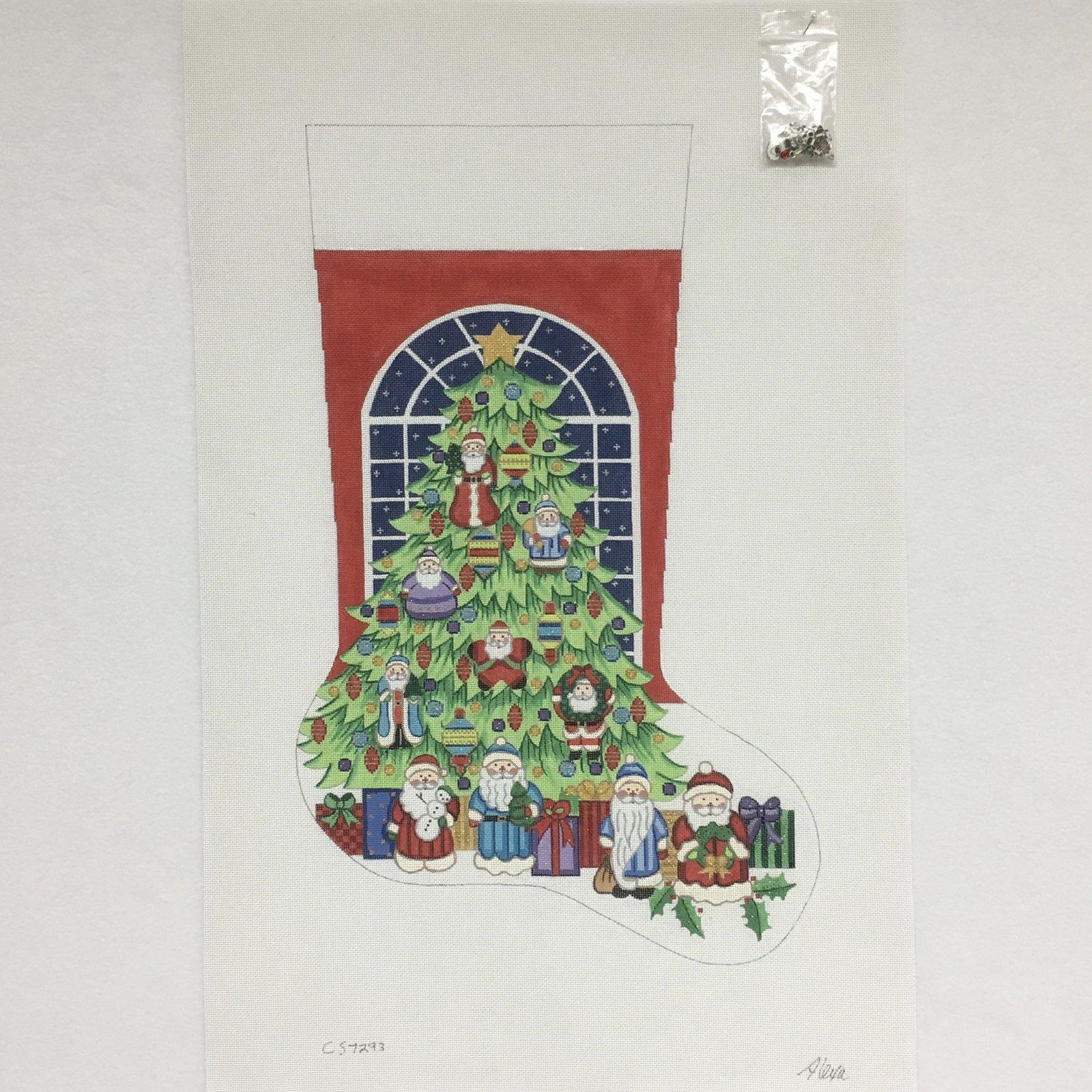 C CS7293 Tree with Santa Ornaments Stocking