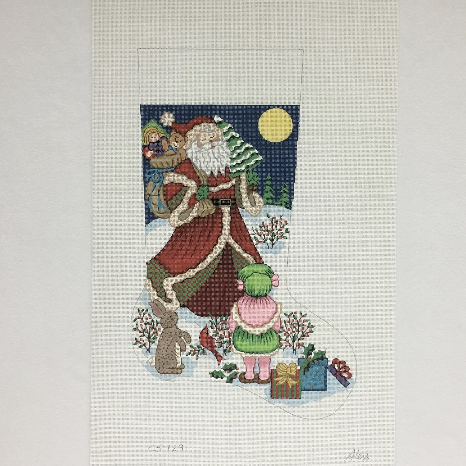 C CS7291 Santa with Gifts for Girl Stocking