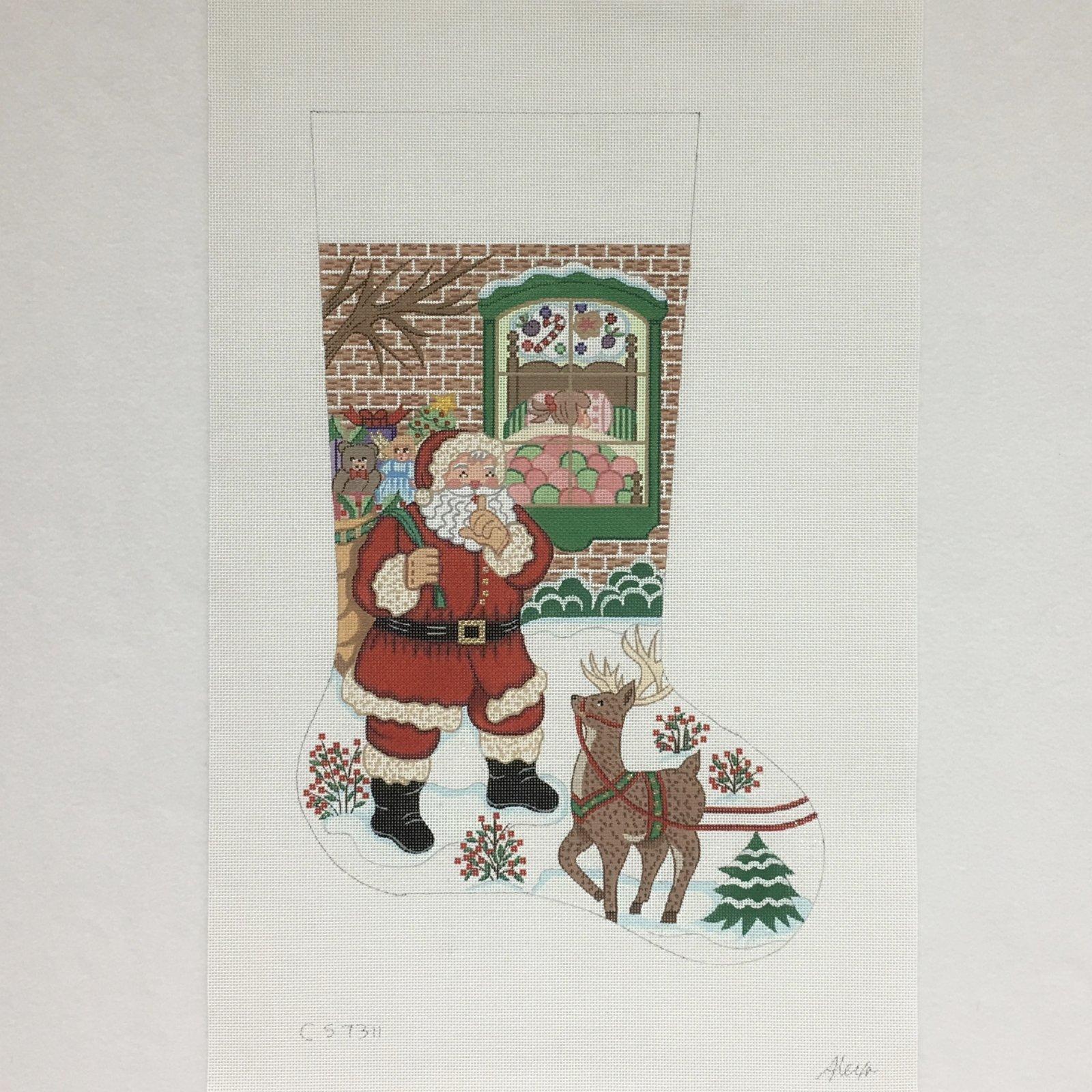 C CS7311 Santa with Reindeer at Girls House Stocking