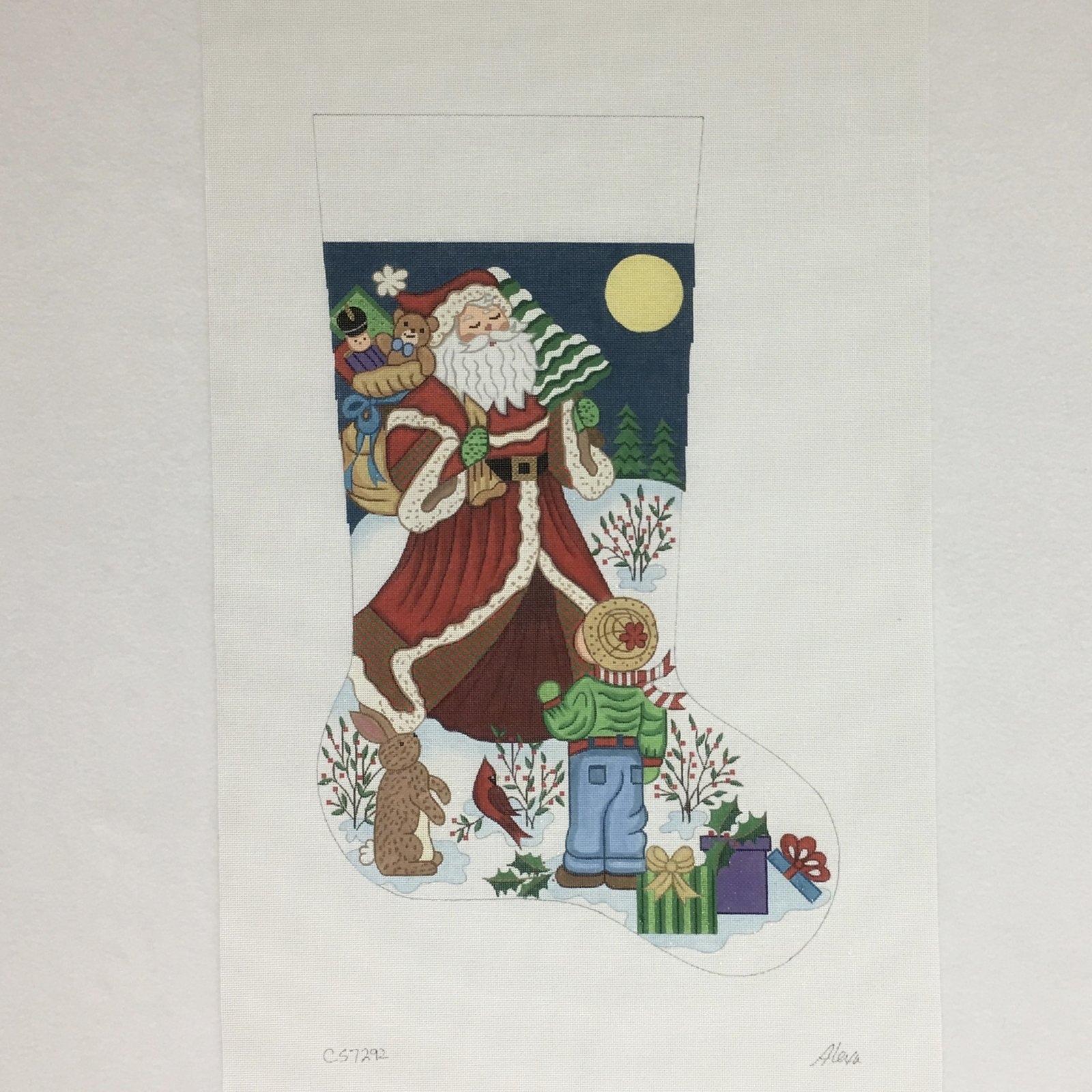 C CS7292 Santa with Gifts for Boy Stocking