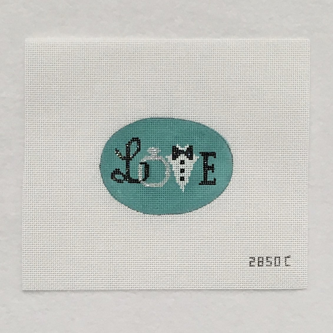 2850C Love Wedding Teal Oval