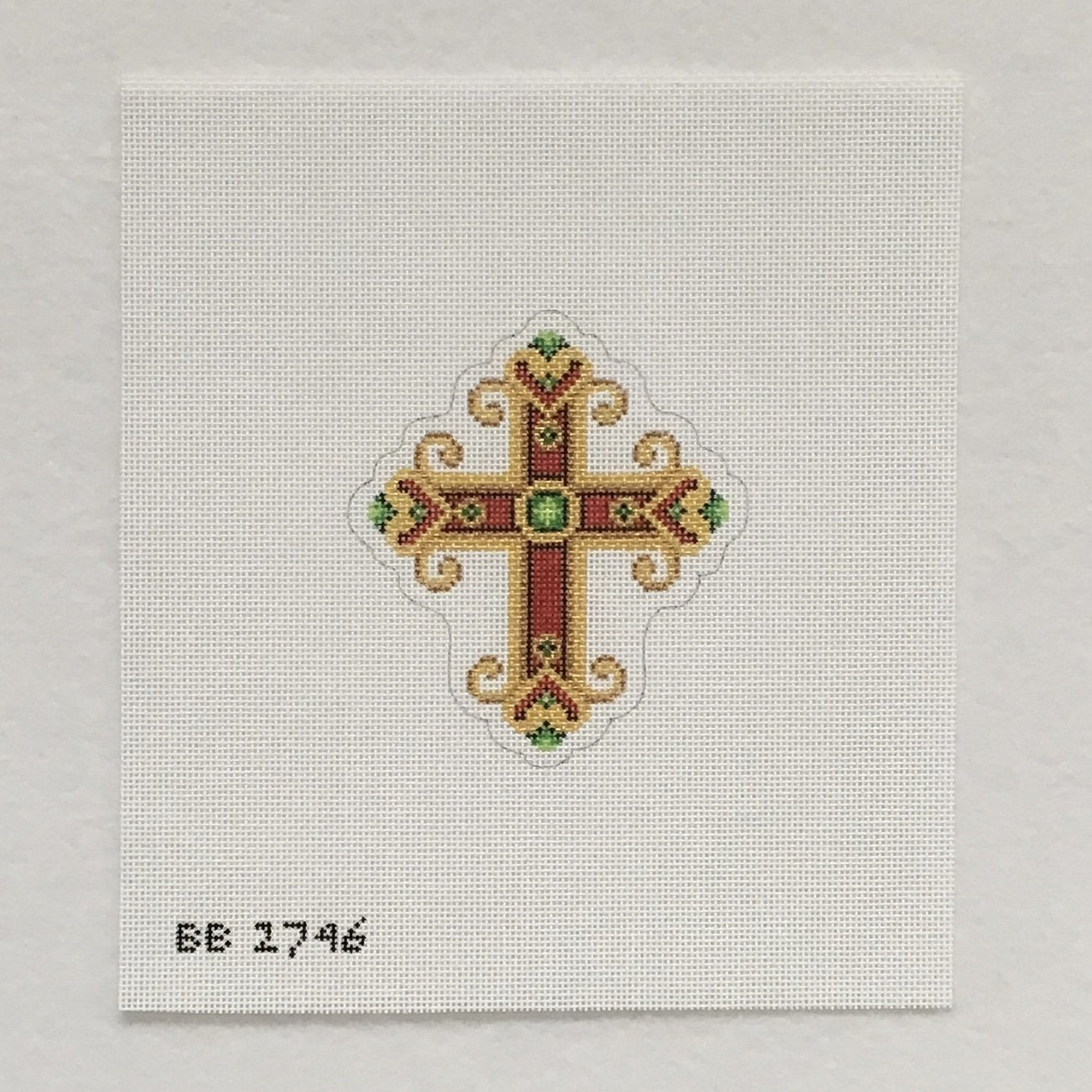 2746 Red and Gold with Green Jewels Cross