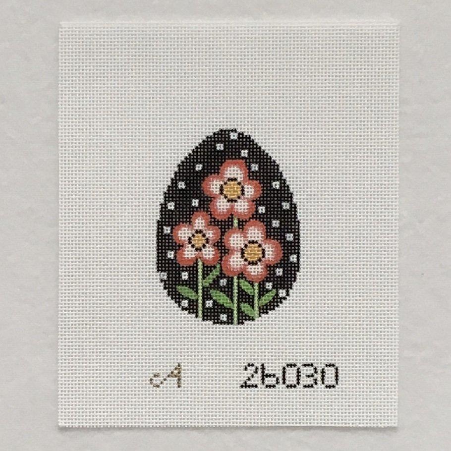 26030 Easter Egg Black Polka Dot with Flowers