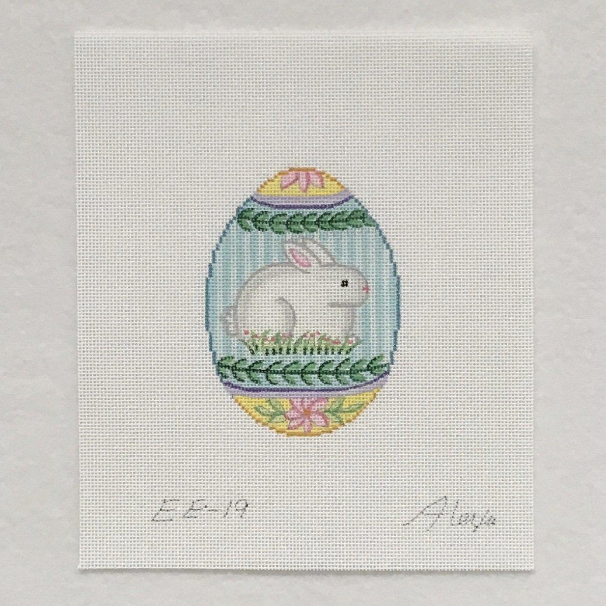 EE19 Bunny with Leaf Border Egg