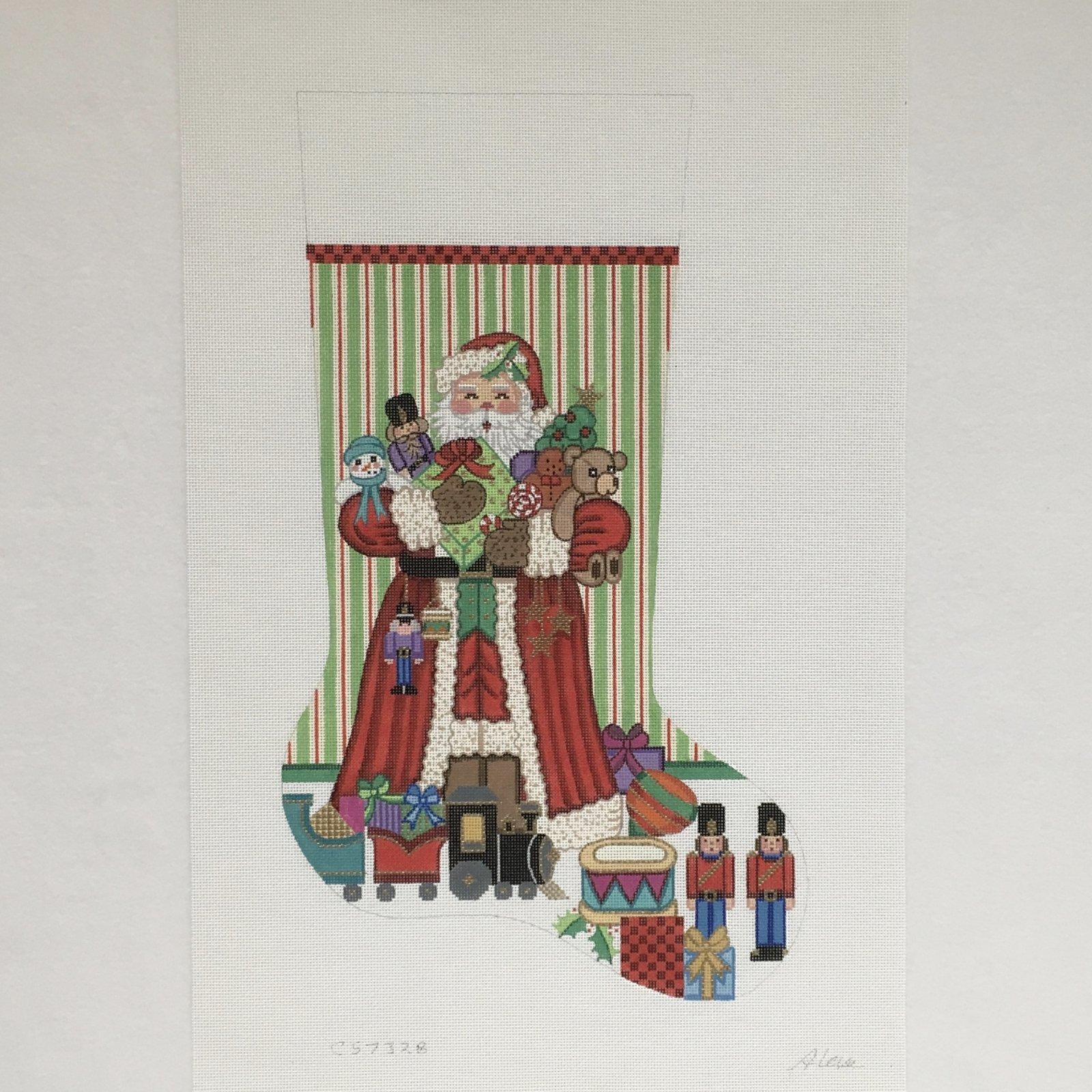 CS7328 Santa with Nutcrackers and Train Stocking