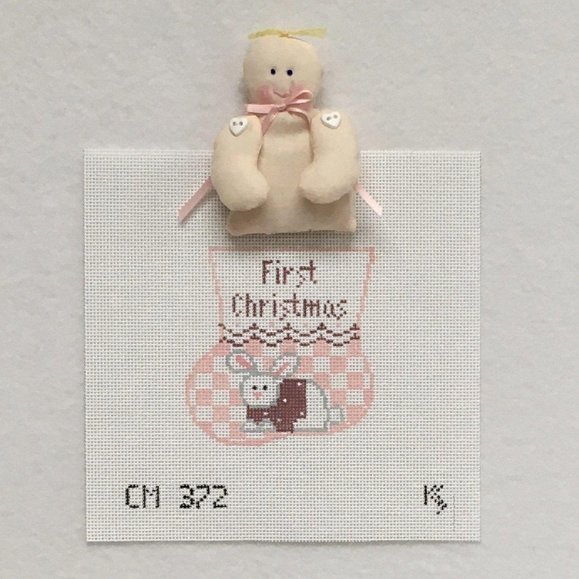CM372 First Christmas Pink Bunny w/Girl Baby