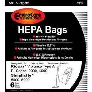 Riccar A Bags/Vibrance 2000/4000-HEPA 6 pack Envirocare