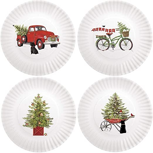 HOLIDAY MELAMINE PLATES SET OF 4