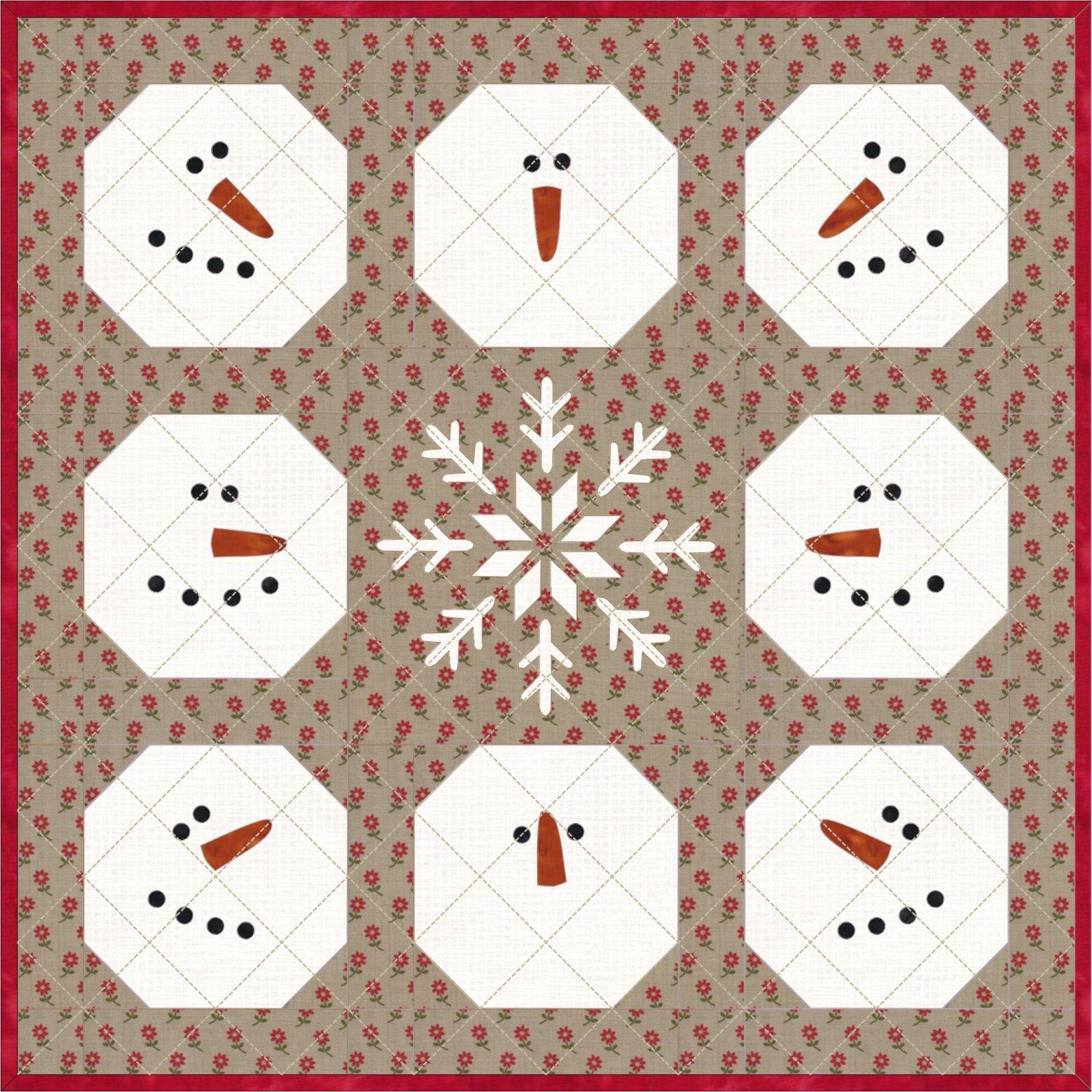 WEEK 9 Snow Friends mini quilt