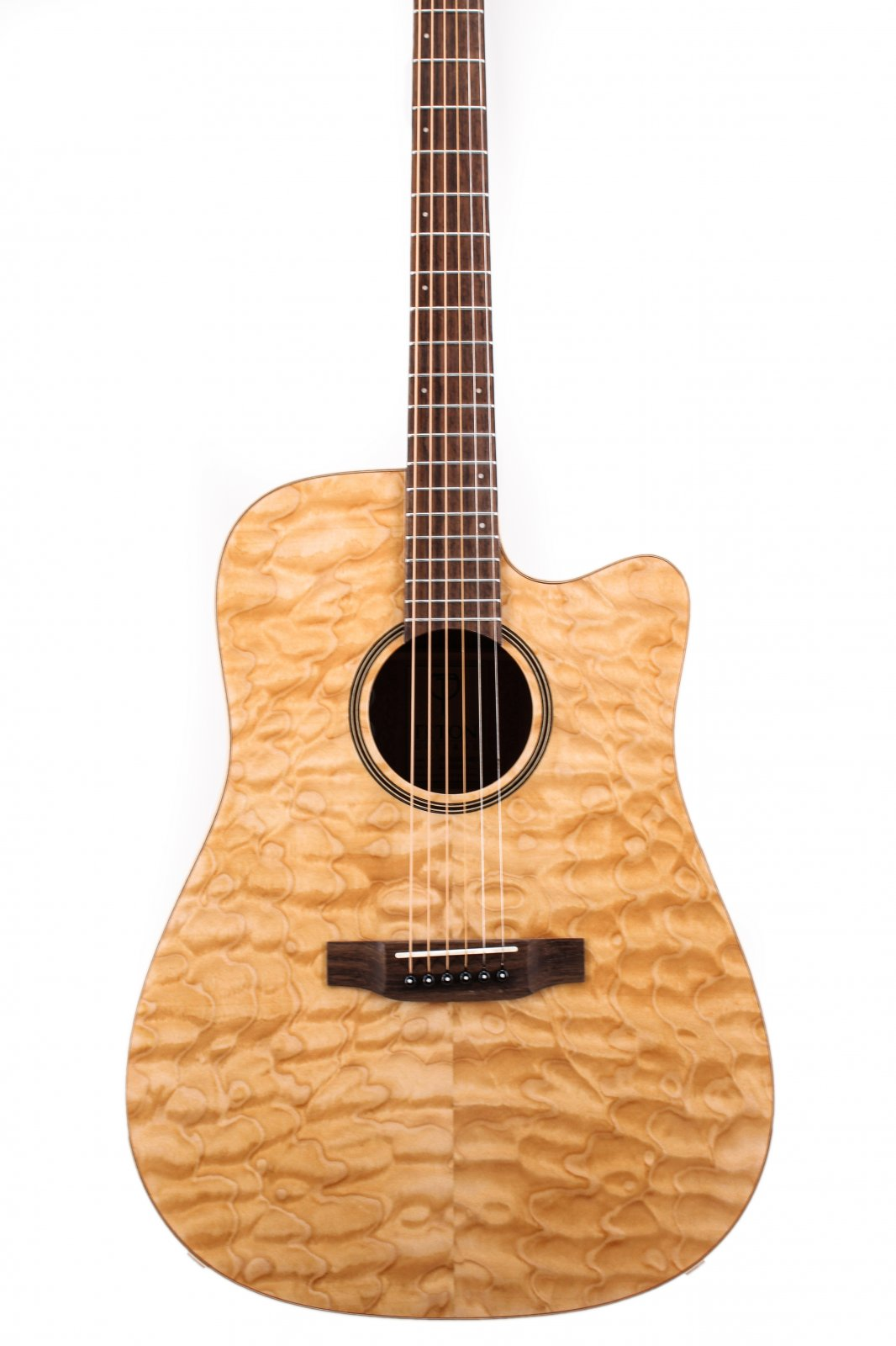 Teton STS000QMGCE Quilt Maple Veneer/Solid Top Dreadnaught Acoustic/Electric