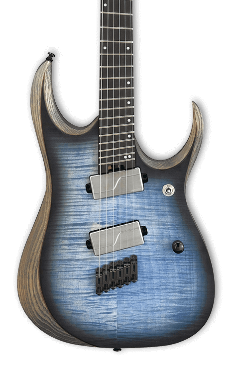 Ibanez RGDIM6FM Iron Label Multi-Scale Cerulean Blue Burst Flat