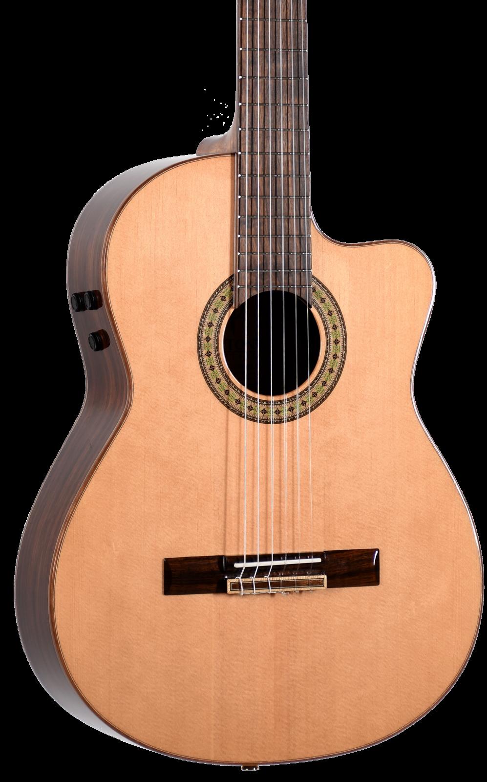 Teton STC180CENT Solid Spruce Top Ebony B&S Classical Guitar