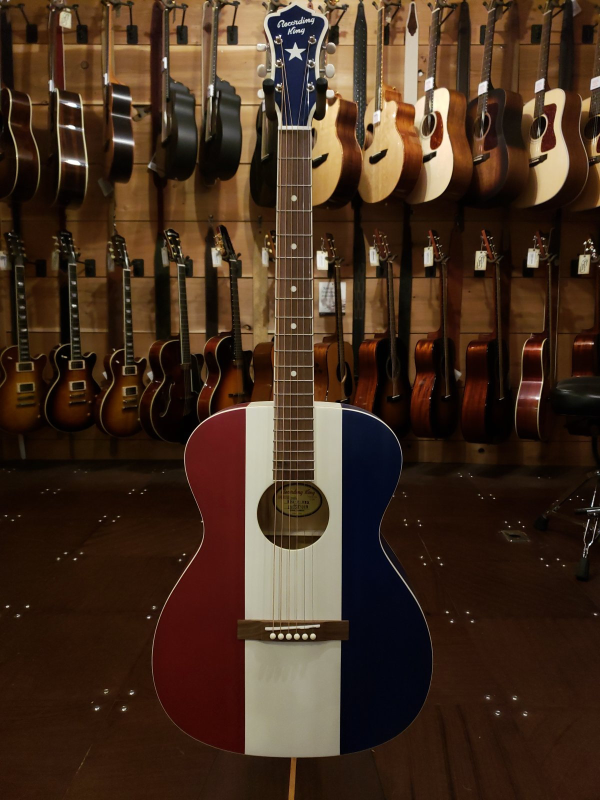 (Floor Model) Recording King Bakersfield Ltd Edition Red/White/Blue Acoustic Guitar