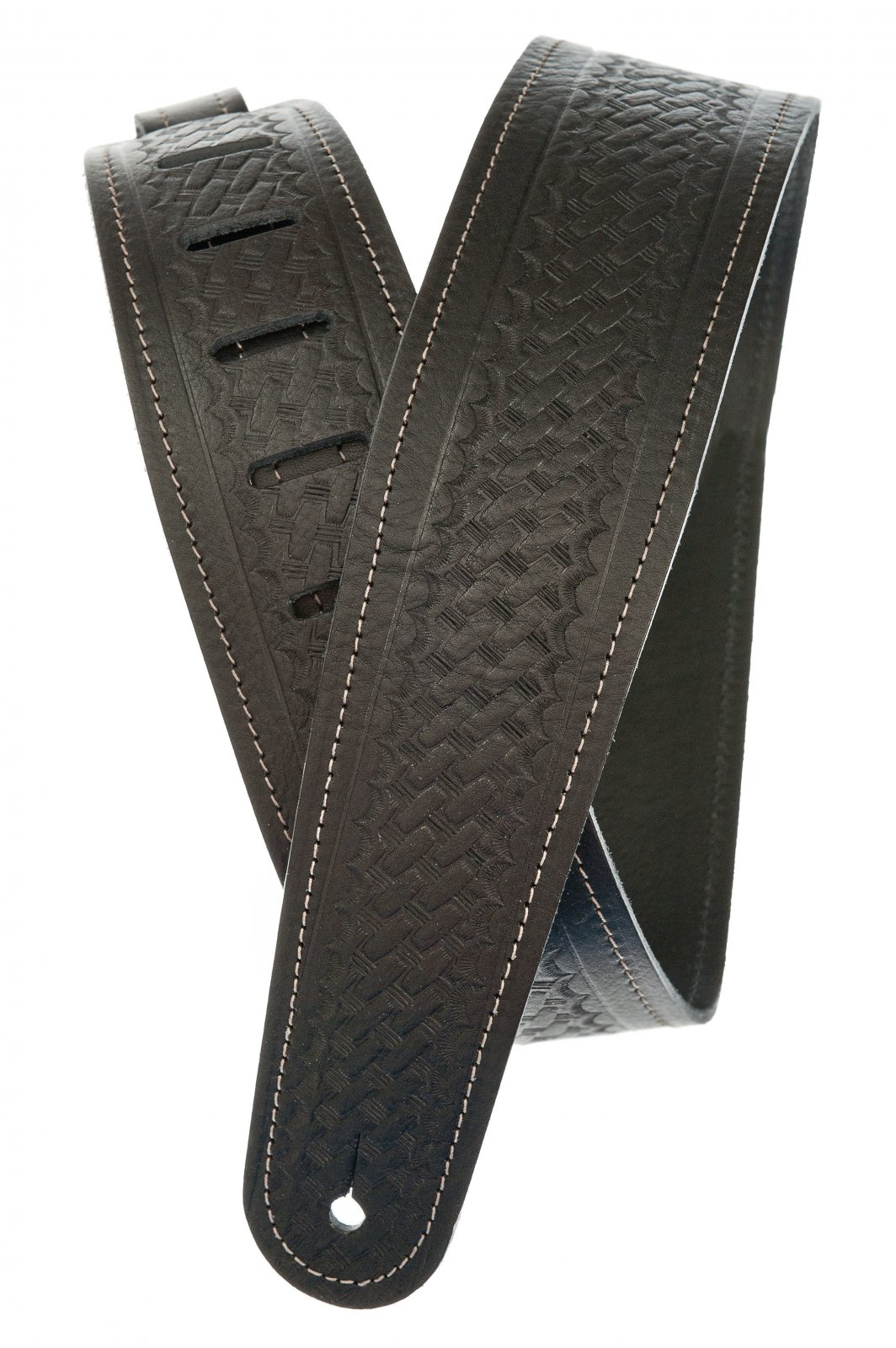 D'Addario/Planet Waves Basket Weave Embossed Leather Guitar Strap Black 25WSTB00