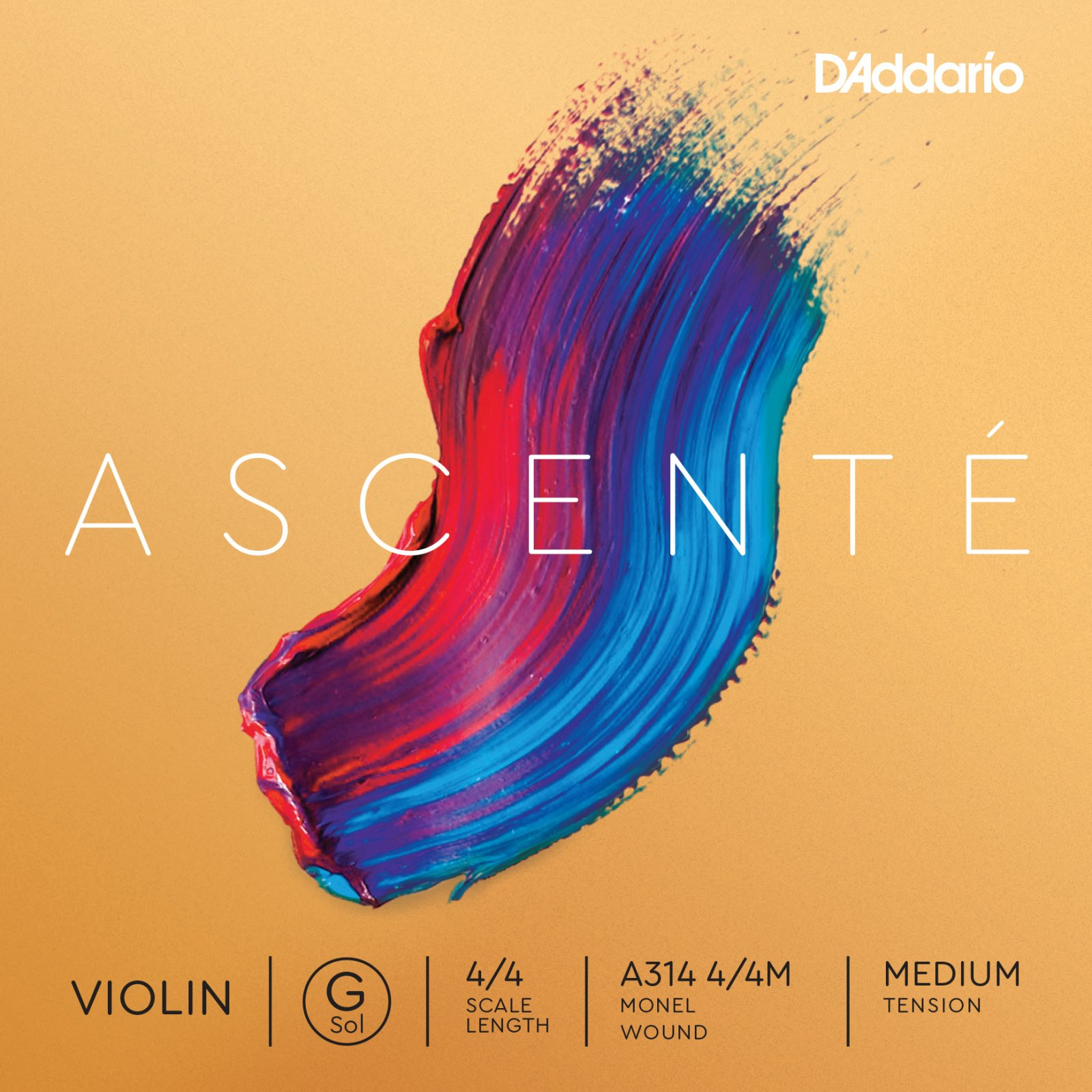 D'Addario Ascente Single G String - Medium Tension 4/4 3/4 1/2 (A314)