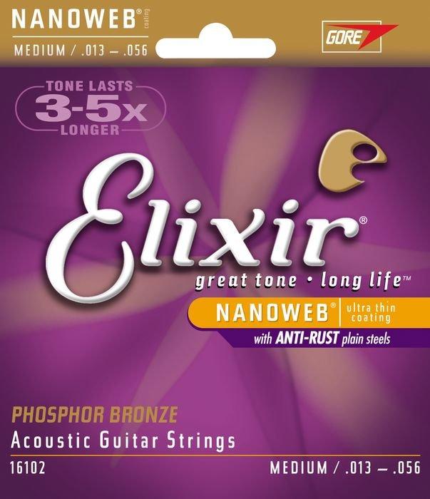 Elixir 16102 NanoWeb Phosphor Bronze Medium 13-56