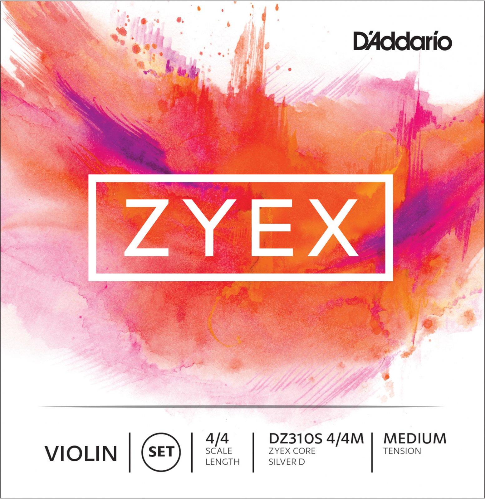 D'Addario DZ310S Zyex Violin String Set with Silver D 4/4 Scale Medium Tension