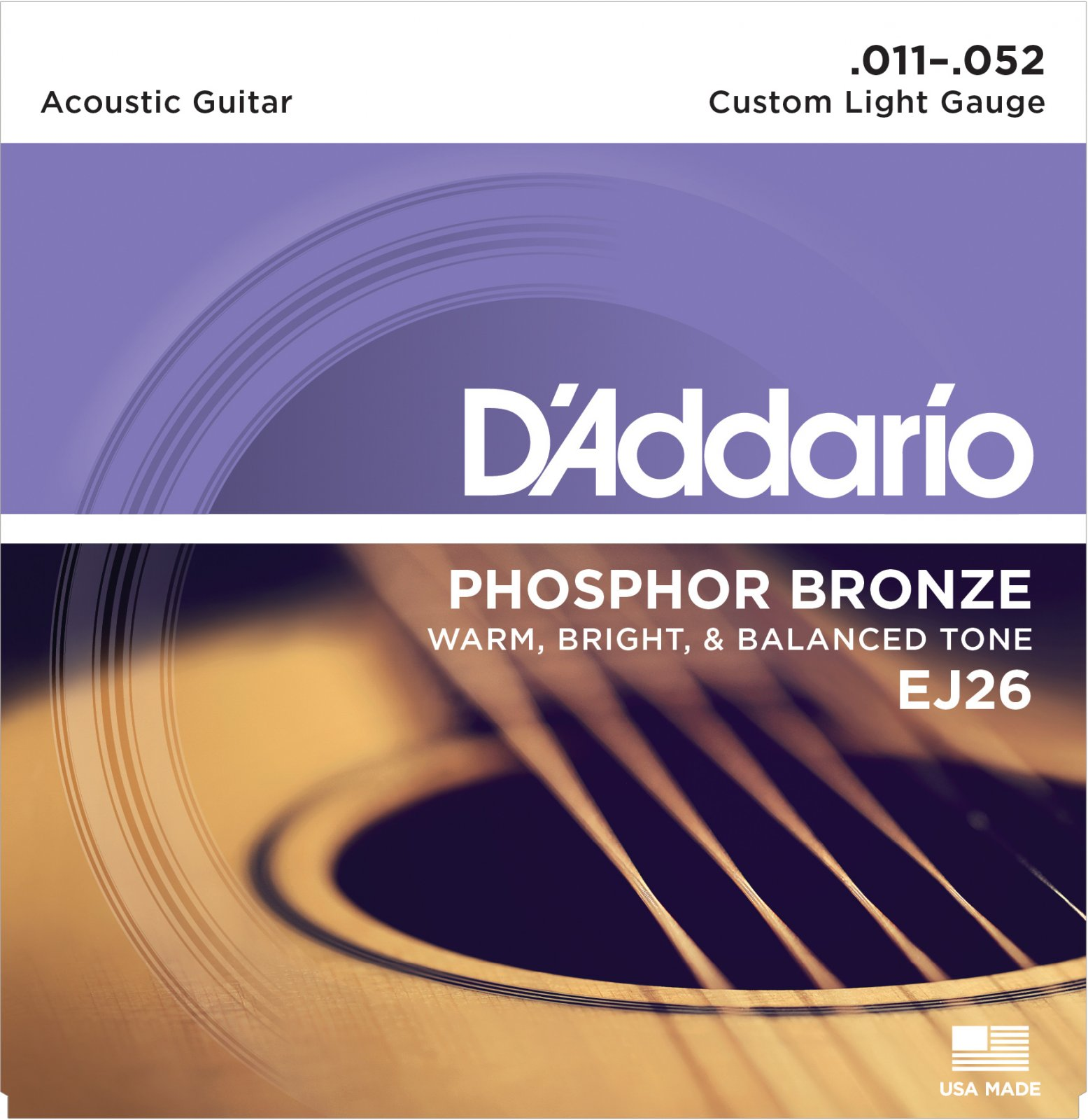 D'Addario EJ26 Phosphor Bronze Custom Light 11-52