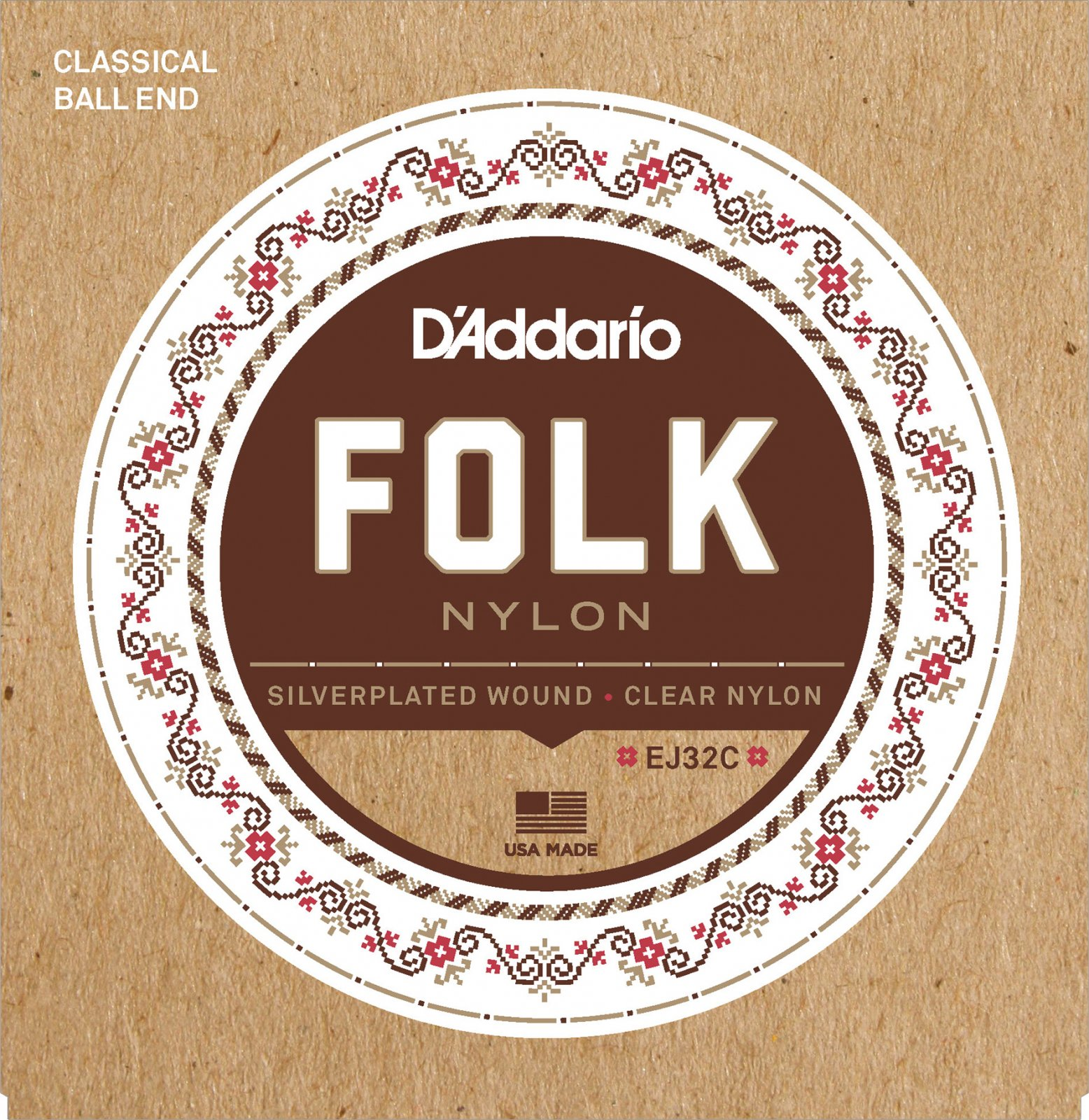 D'Addario EJ32C Set Folk Nylon Silver Wound/Ball End Clear Trebles