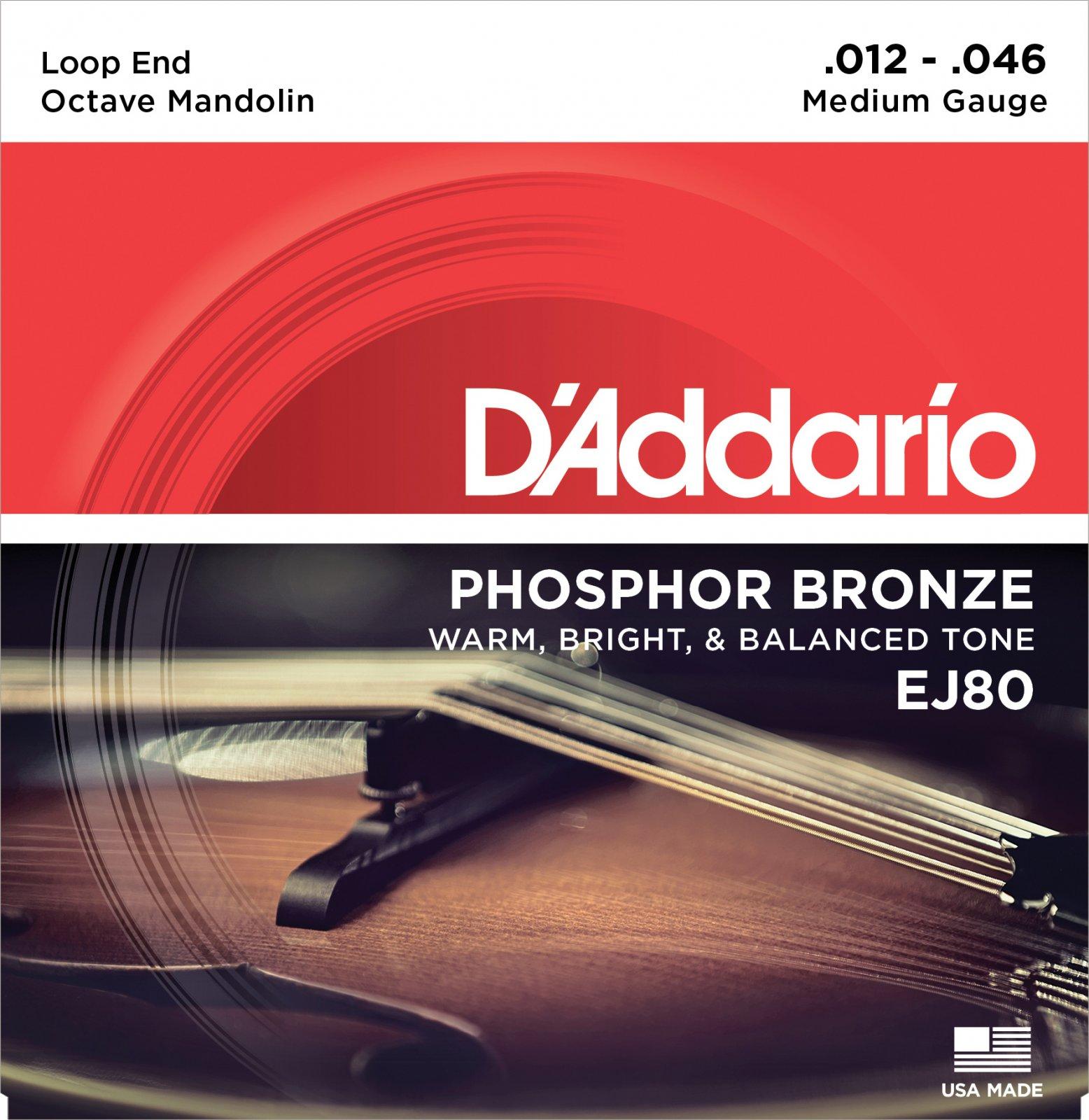 D'Addario EJ80 Phosphor Bronze Octave Mandolin Strings Medium