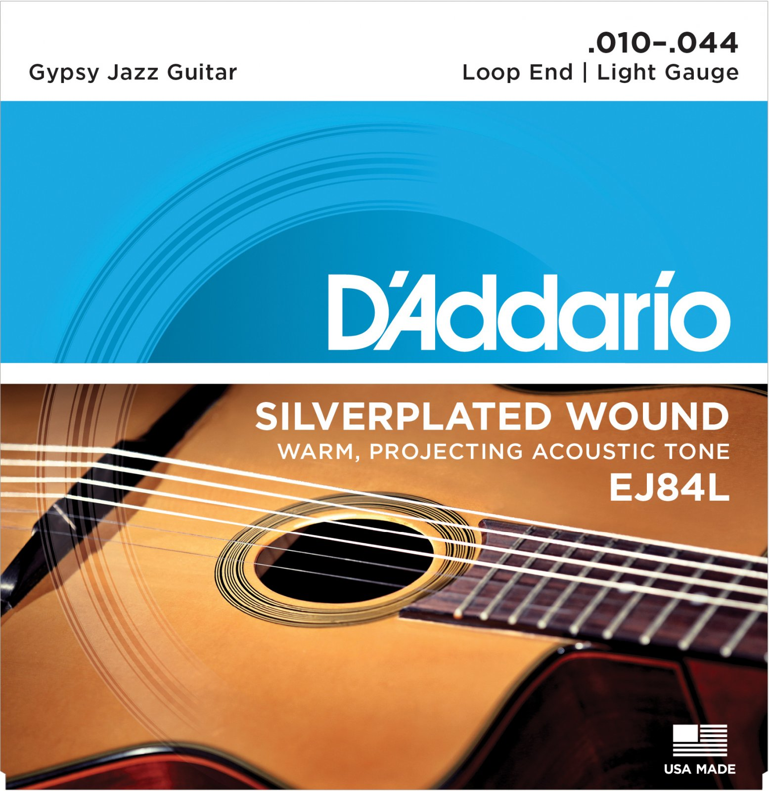 D'Addario EJ84L Gypsy Jazz Acoustic Guitar Strings Loop End Light