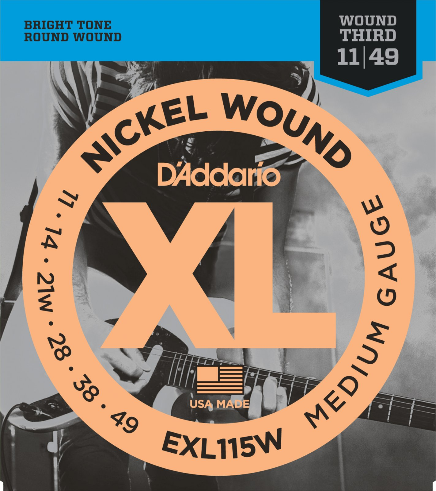 D'Addario EXL115W Nickel Wound Electric Guitar Strings Medium Wound 3rd 11-49