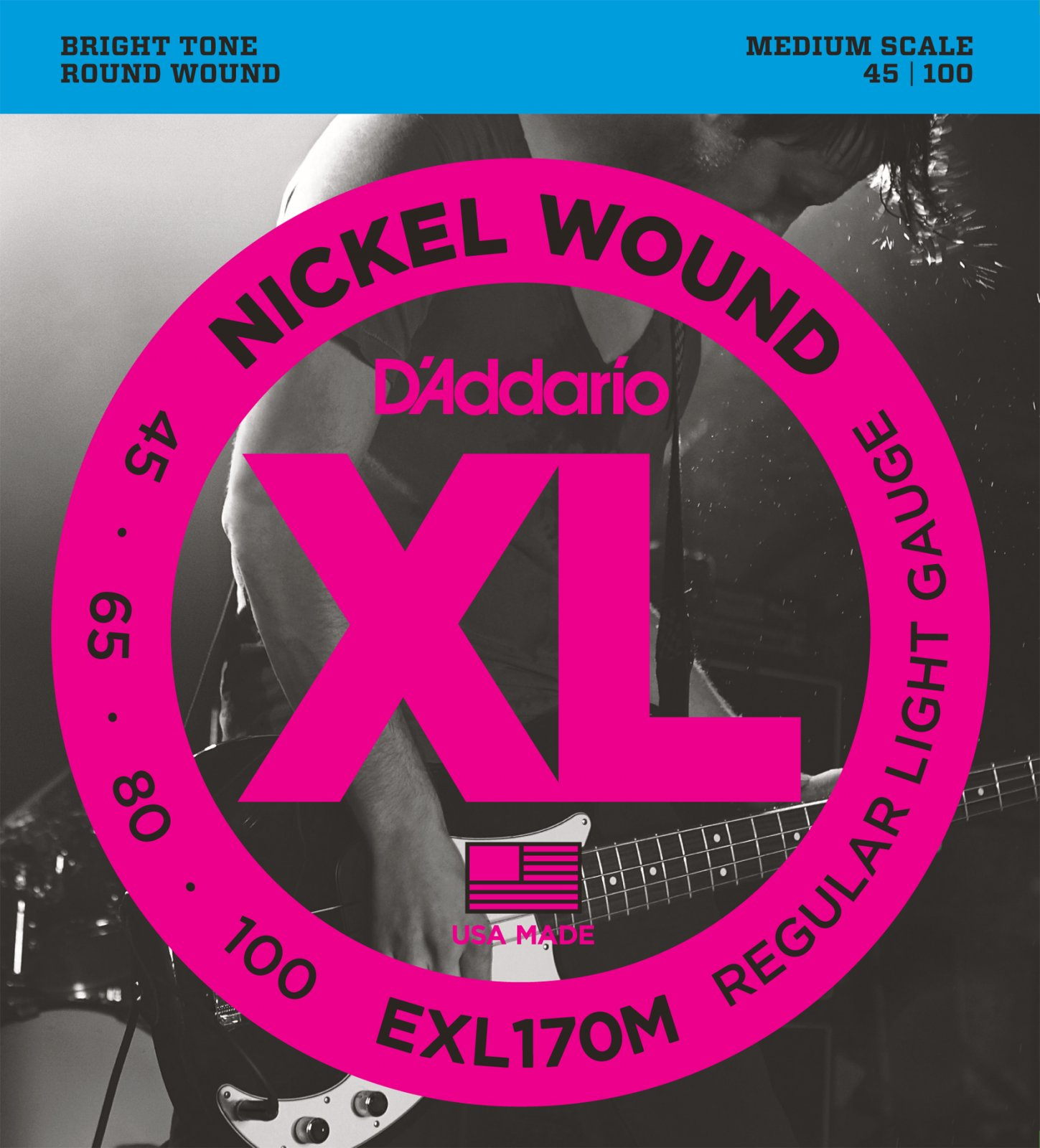 D'Addario EXL170M Nickel Wound Electric Bass Light 45-100 Medium Scale