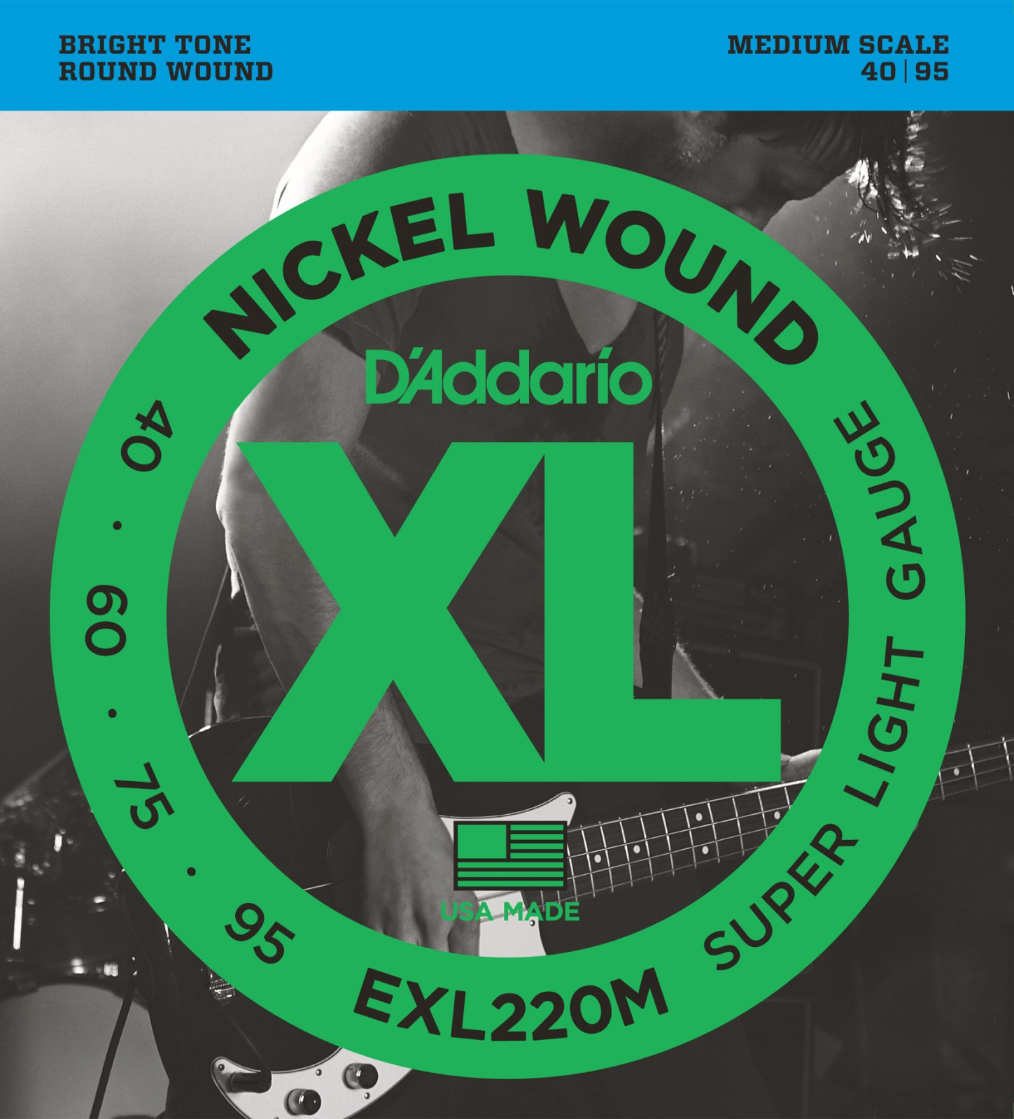 D'Addario EXL220M Nickel Wound Electric Bass Super Light 40-95 Medium Scale