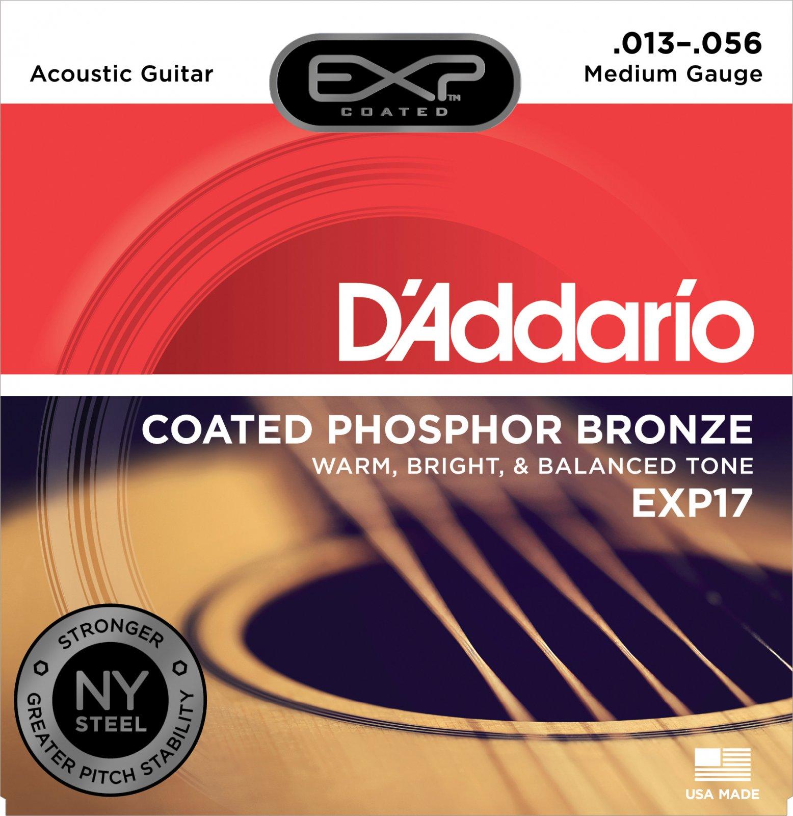 D'Addario EXP17 Coated Phosphor Acoustic Guitar Strings Medium 13-56 Set
