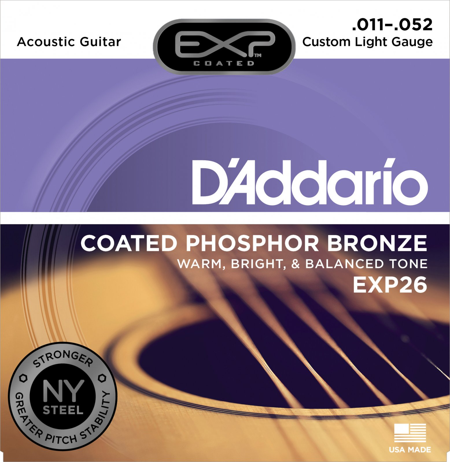 D'Addario EXP26 Coated Phosphor Bronze Acoustic Guitar Strings Custom Light 11-52