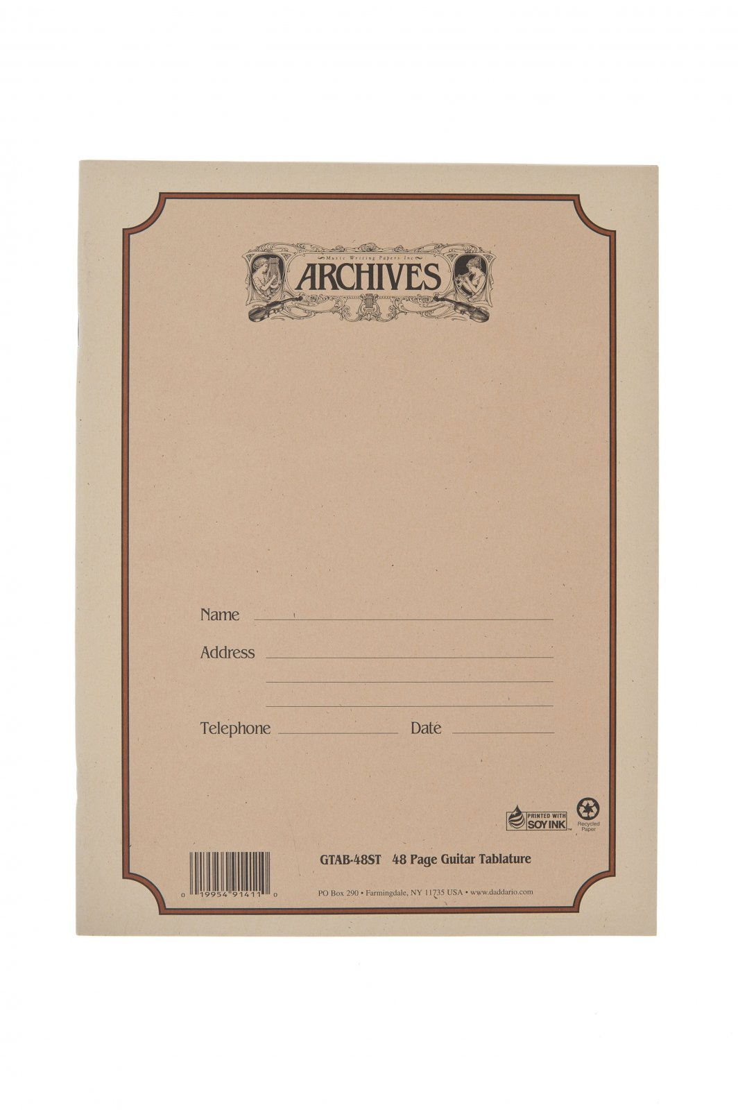 Archives Standard Bound Manuscript Paper Book Guitar Tab Blank GTAB-48ST