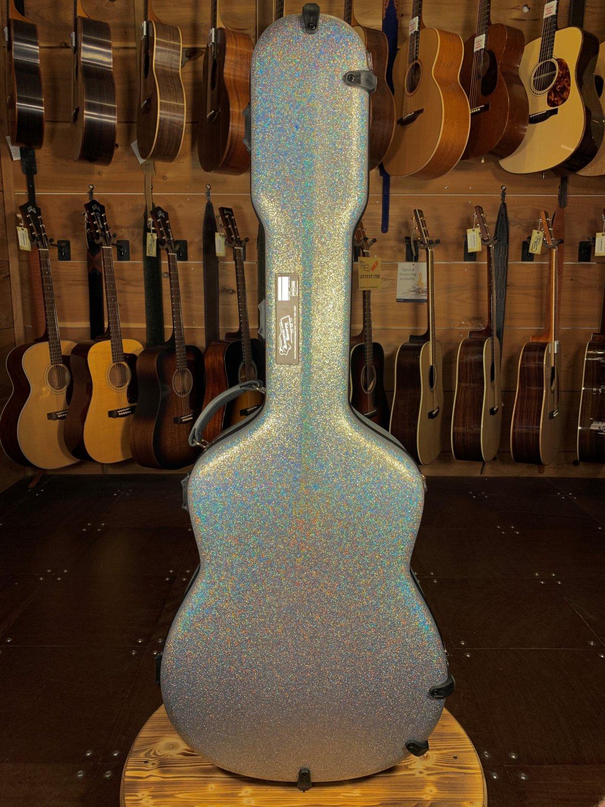Calton Diamond Glitter Grey Exterior/Burgundy Interior Dreadnought Guitar Case #19-601560
