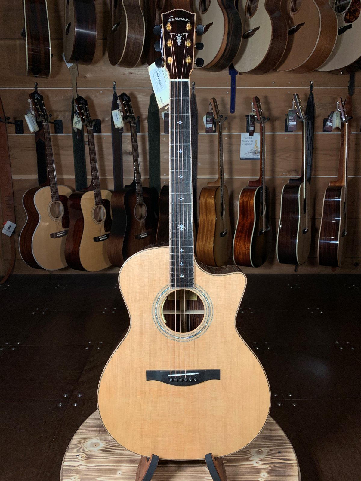 (Floor Model) Eastman DT30GACE Double Top Sitka Spruce/Rosewood Cutaway Acoustic/Electric #0759