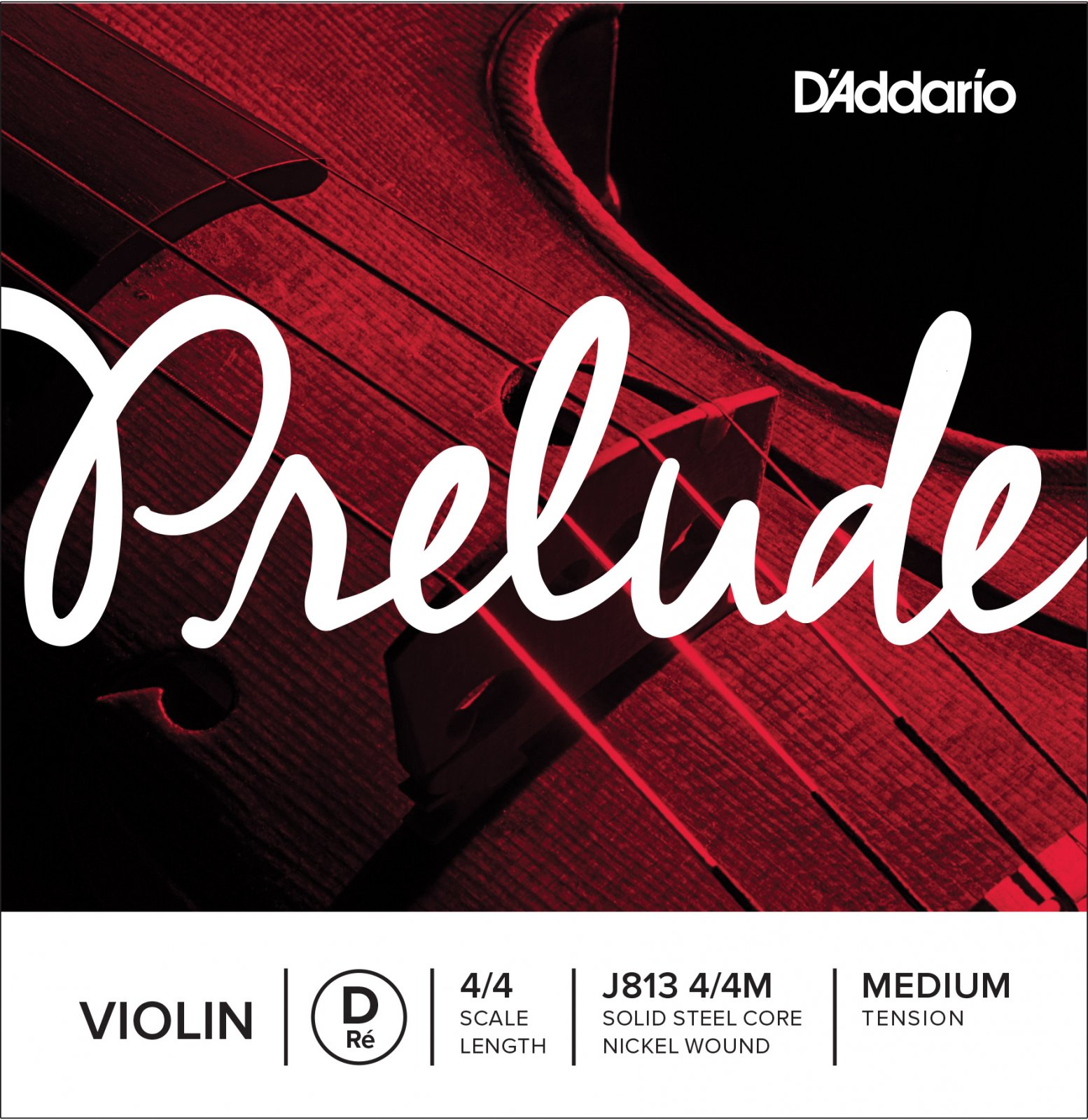 D'Addario J813 Prelude Violin Single D String Medium Tension 1/2 3/4 4/4