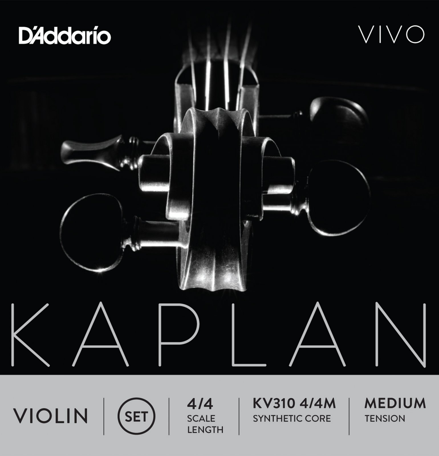D'Addario KV310 4/4M Kaplan Vivo Violin String Set 4/4 Scale Medium Tension