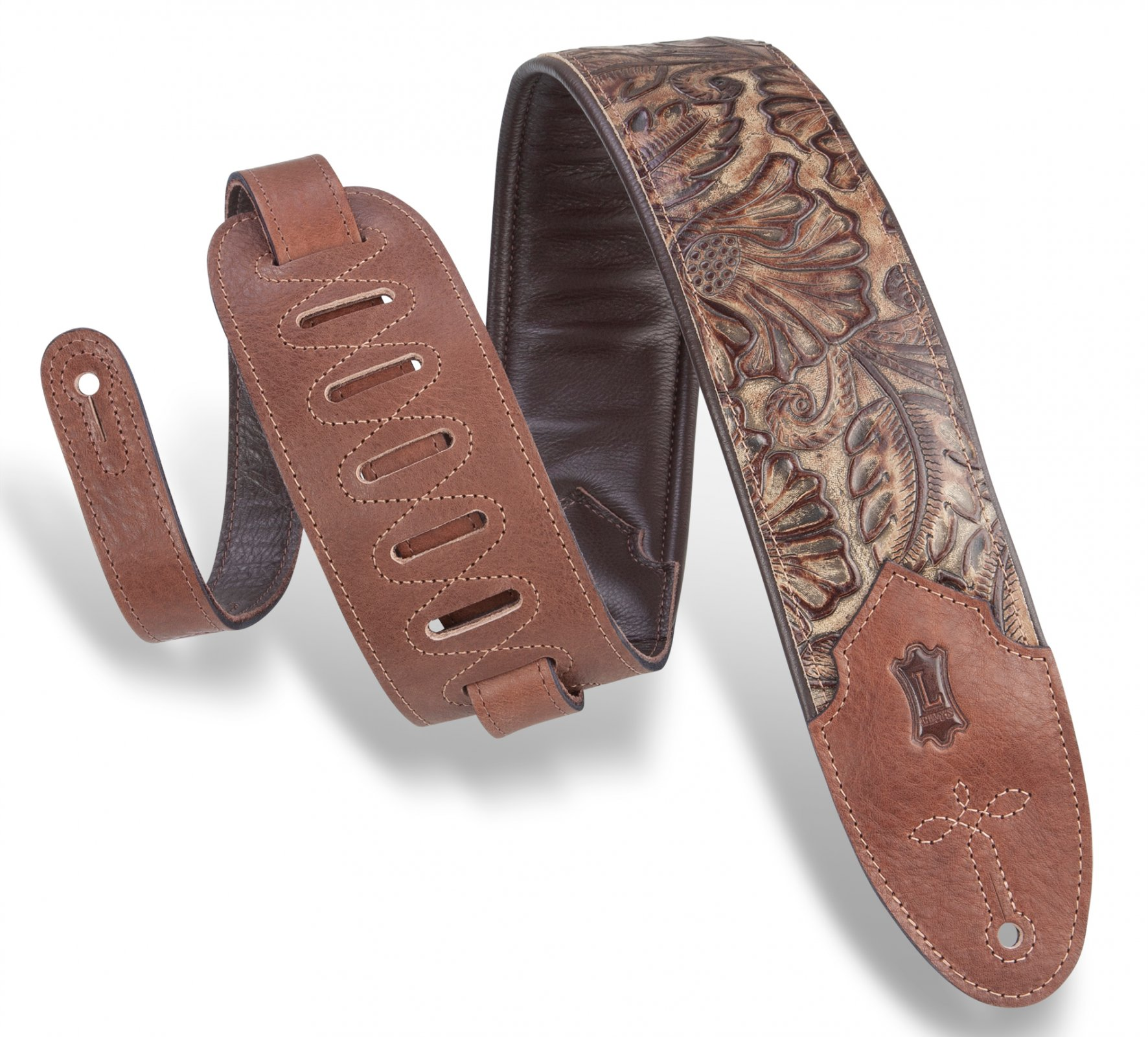 Levy's M4WP-002 Wide Embossed Leather Guitar Strap