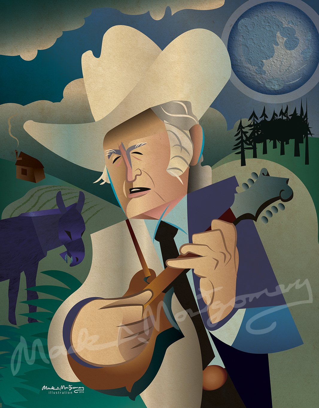 Bill Monroe Fine Art Print by Mark A Montgomery
