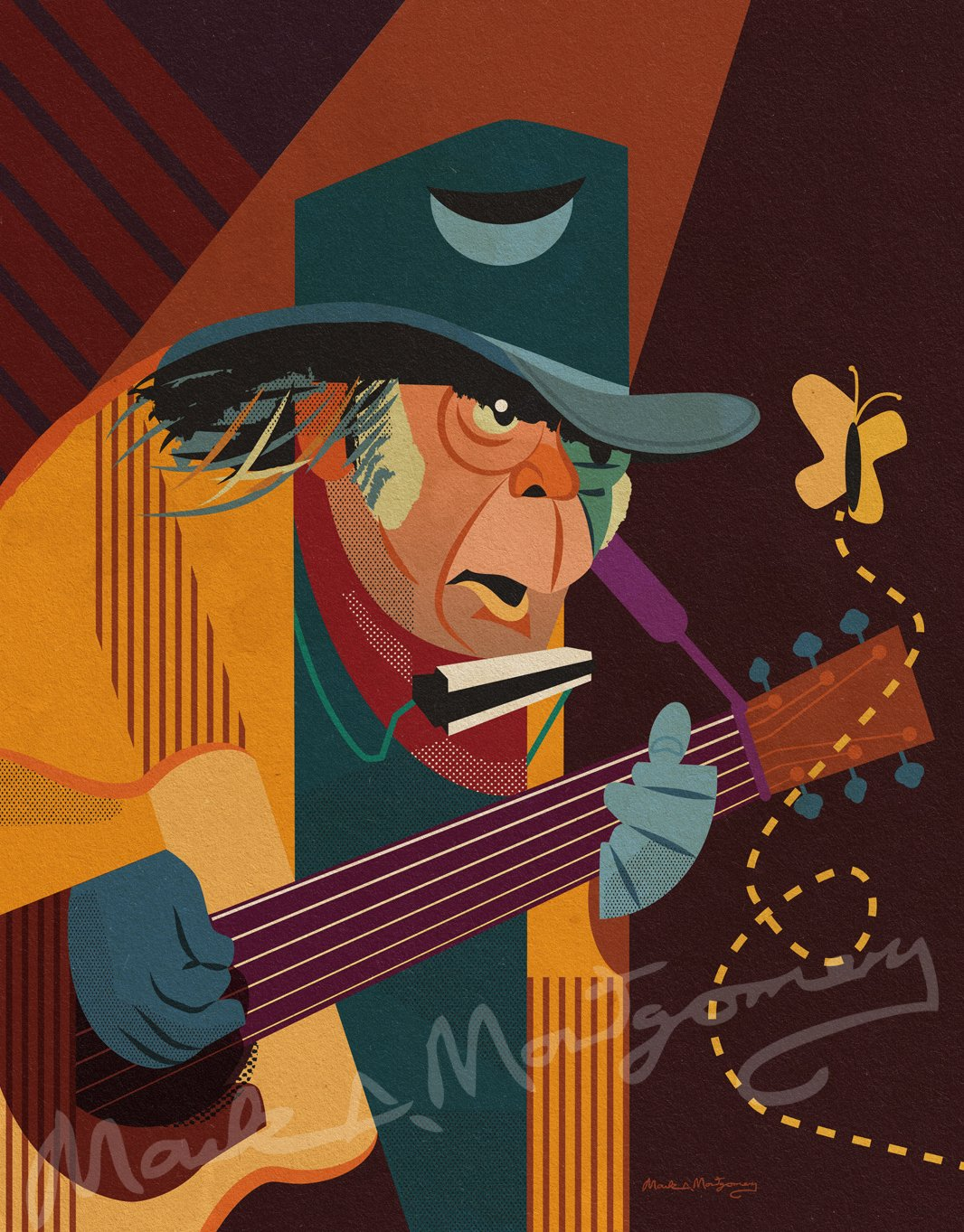 Neil Young Fine Art Print by Mark A Montgomery