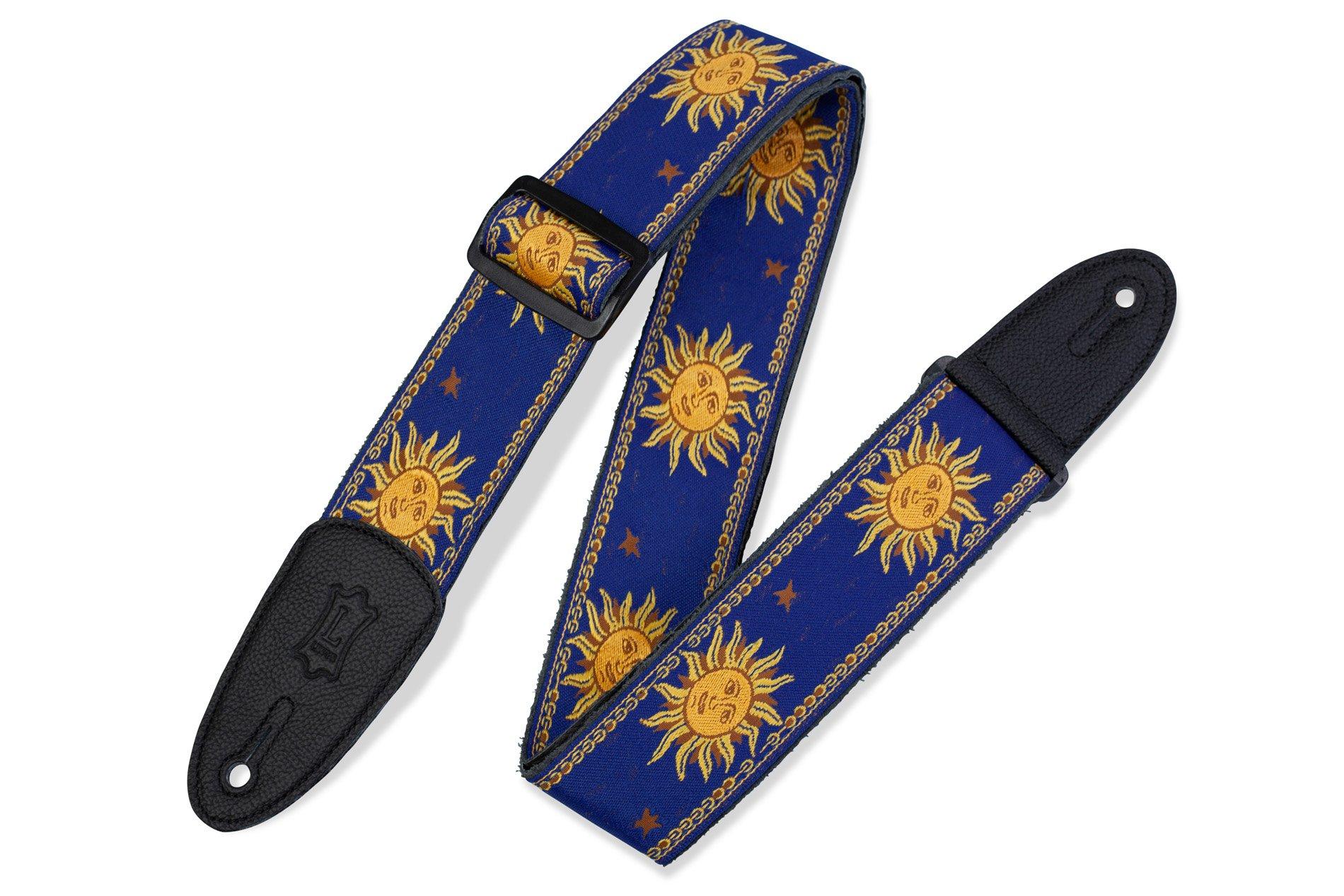 Levy's Sun Design Jacquard Weave Guitar Strap - Blue (MPJG-SUN-BLU)