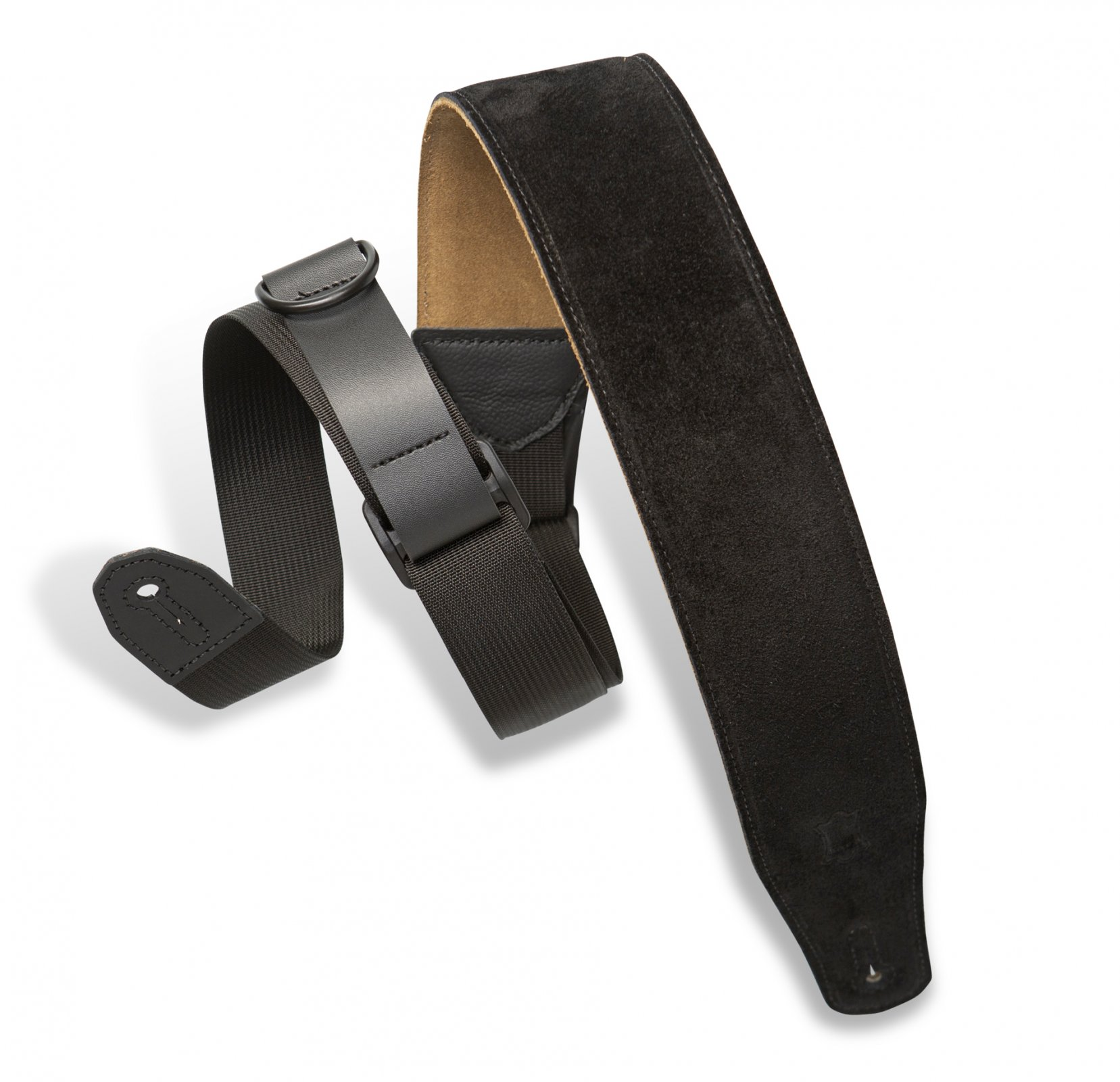 Levy's Right Height Suede Leather Guitar/Bass Strap - Black (MRHSP-BLK)