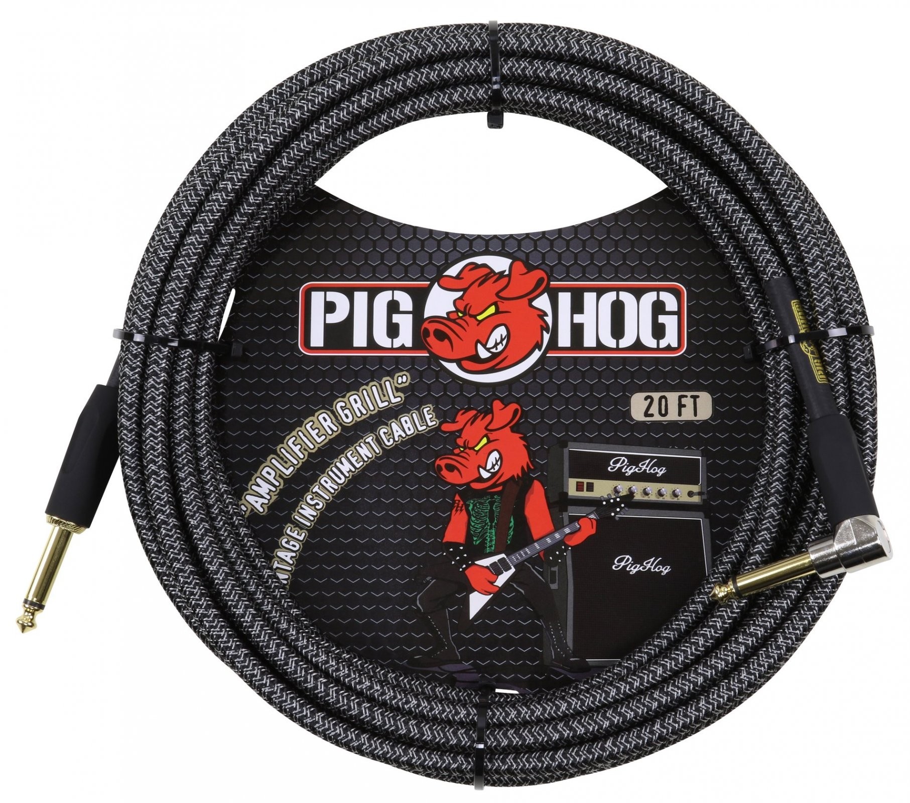 Pig Hog Amp Grill 20ft Instrument Cable - Right Angle