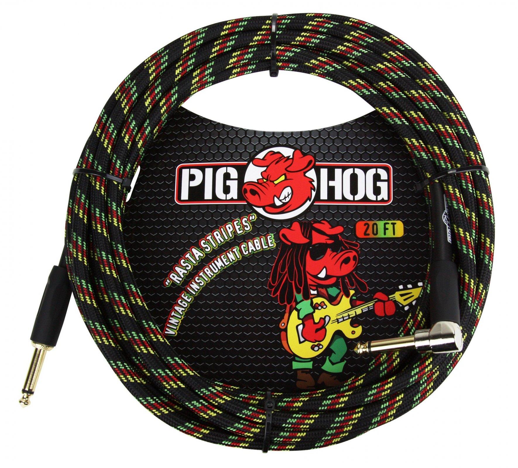 Pig Hog Rasta Stripes 20ft instrument cable right angle
