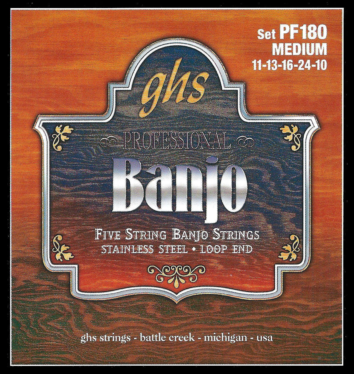 GHS PF180 STAINLESS STEEL 5-STRING - Stainless Steel Medium Banjo Strings