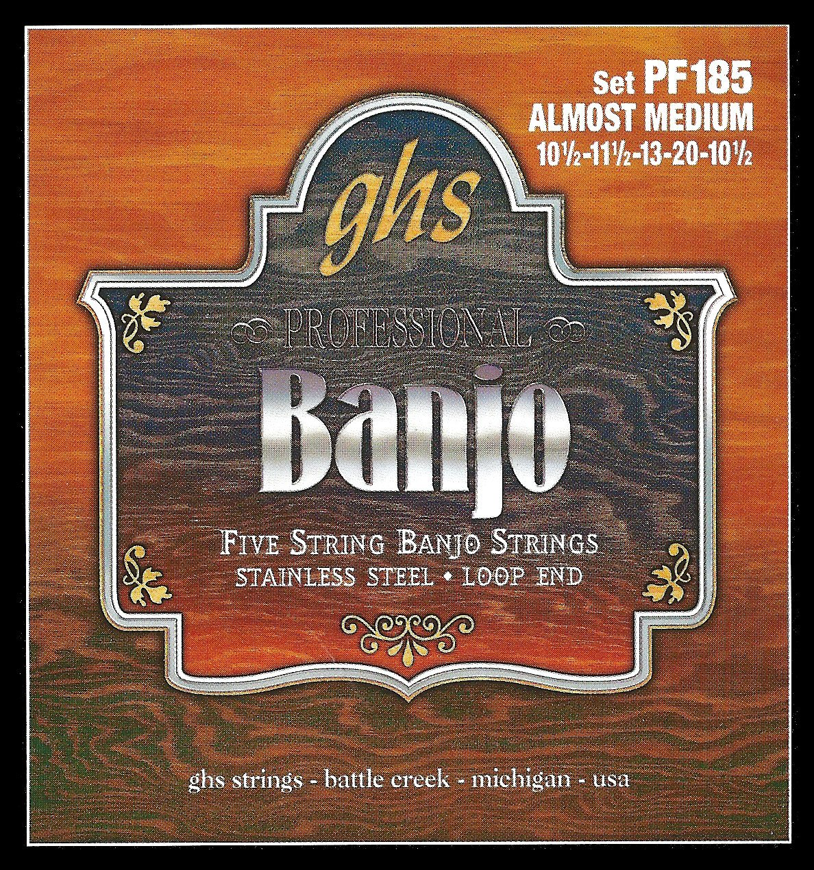 GHS PF185 STAINLESS STEEL 5-STRING - Stainless Steel Almost Medium Banjo Strings