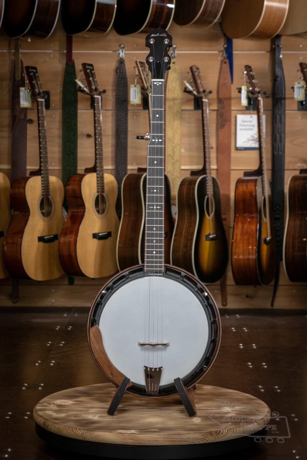 Nechville Aries #2424 Walnut Resonator Banjo w/ Black Heli